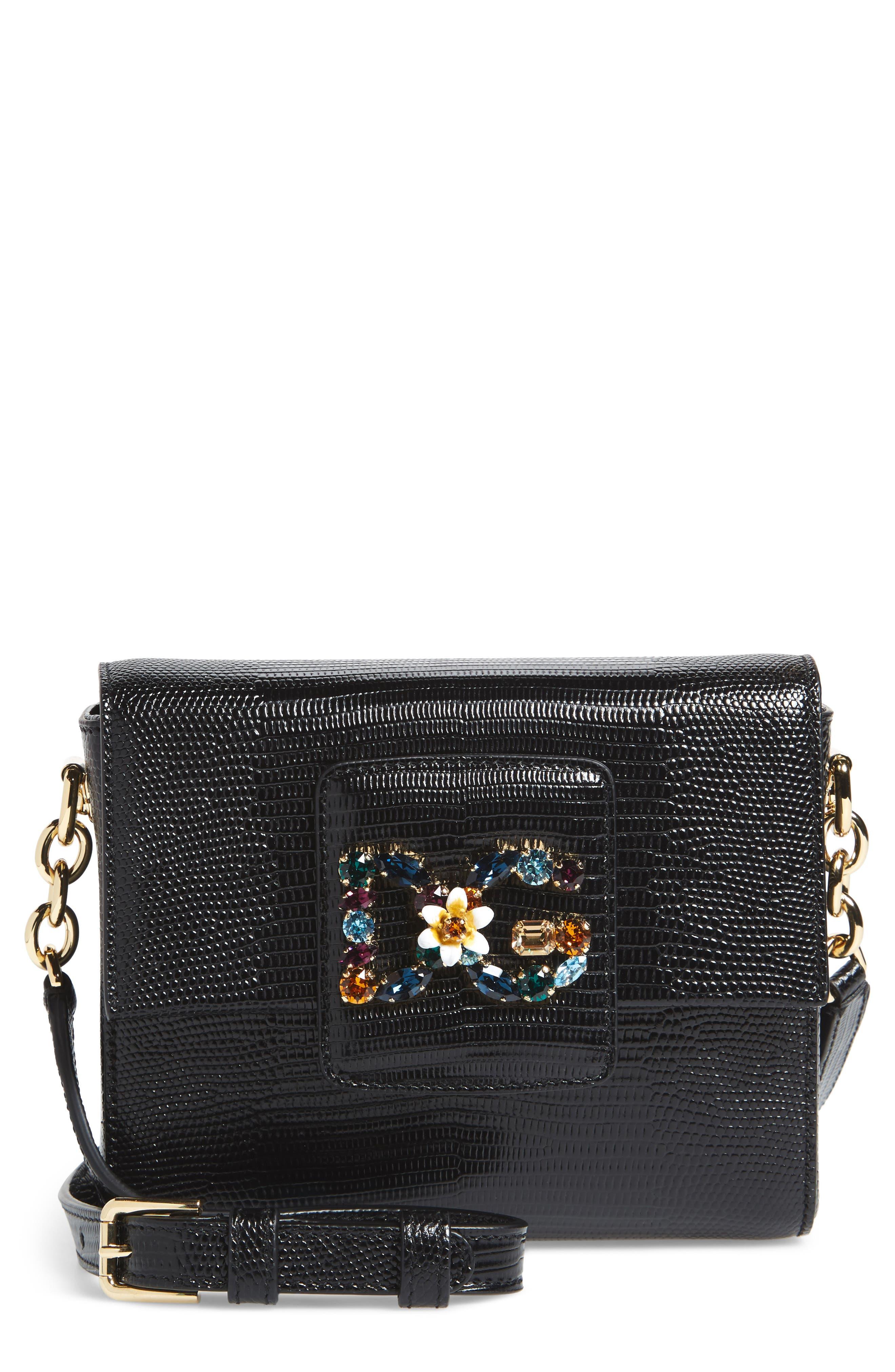 Alternate Image 1 Selected - Dolce&Gabbana Millennial Reptile Embossed Leather Crossbody Bag
