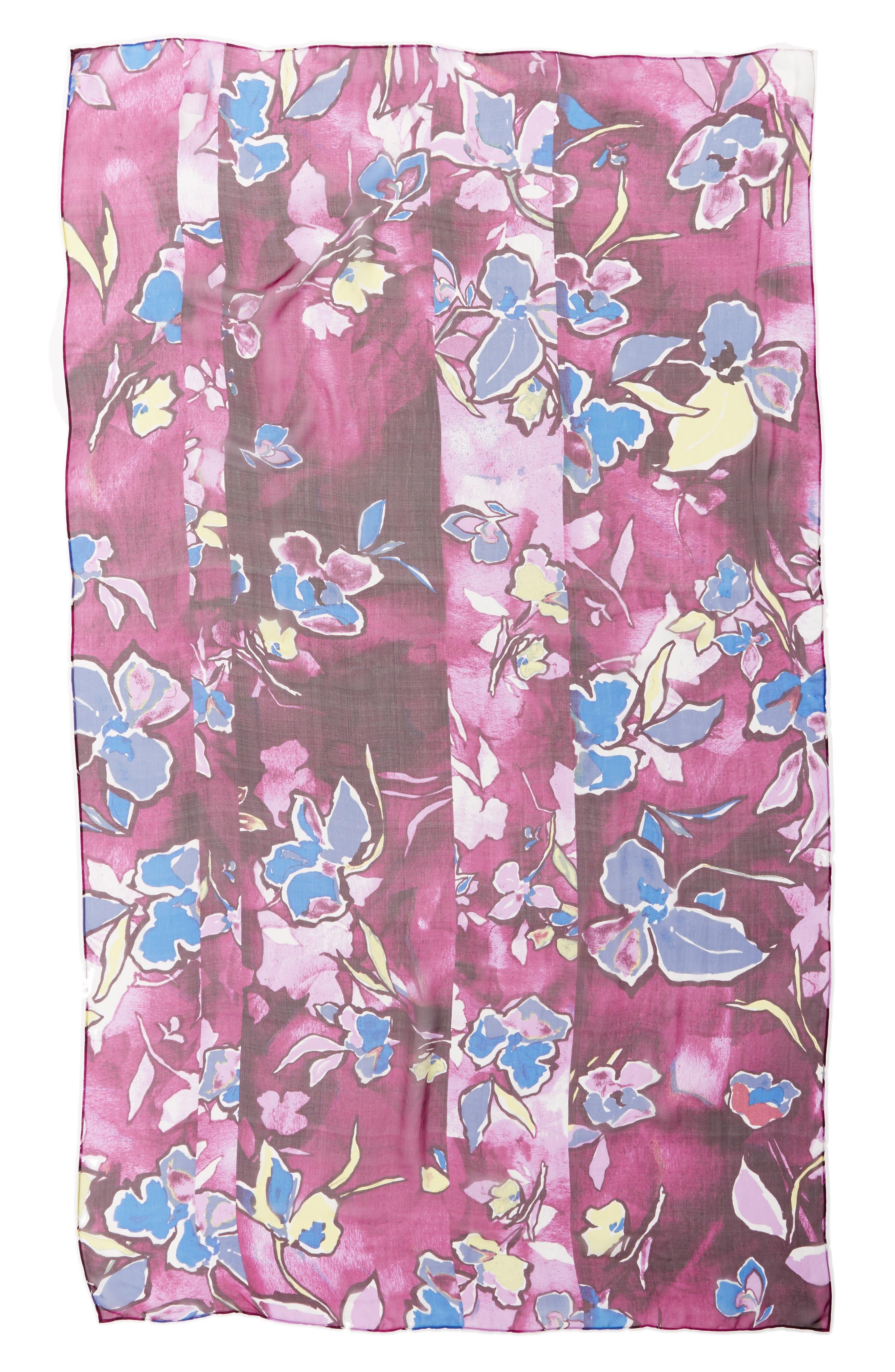 Silk Chiffon Oblong Scarf,                             Alternate thumbnail 3, color,                             Purple Textured Blooms