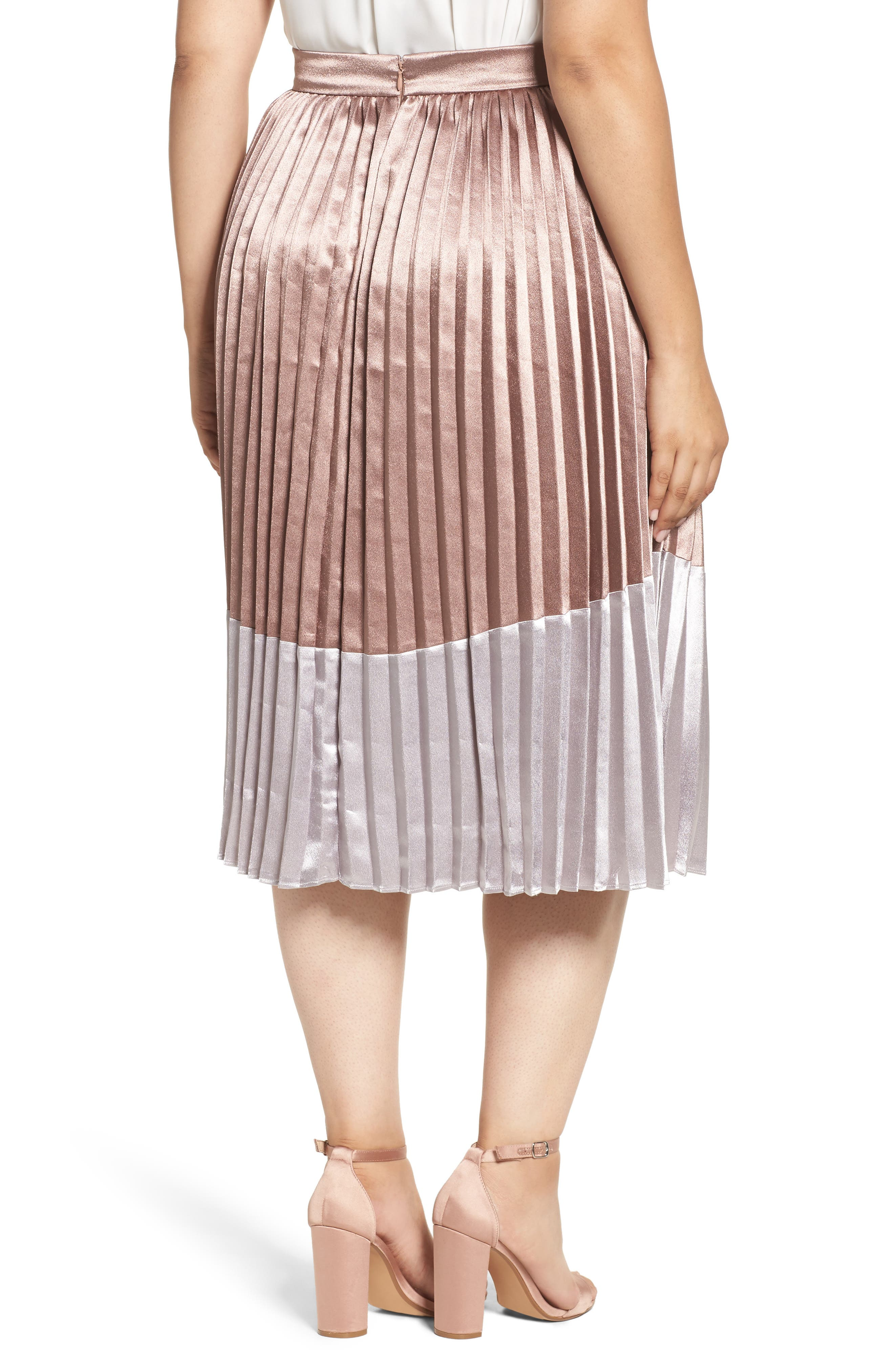 Alternate Image 2  - LOST INK Pleat Metallic Skirt (Plus Size)