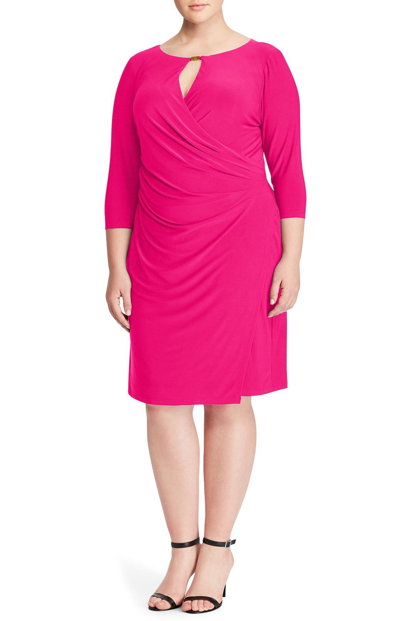 Ruched Jersey Dress,                         Main,                         color, Pink Poppy