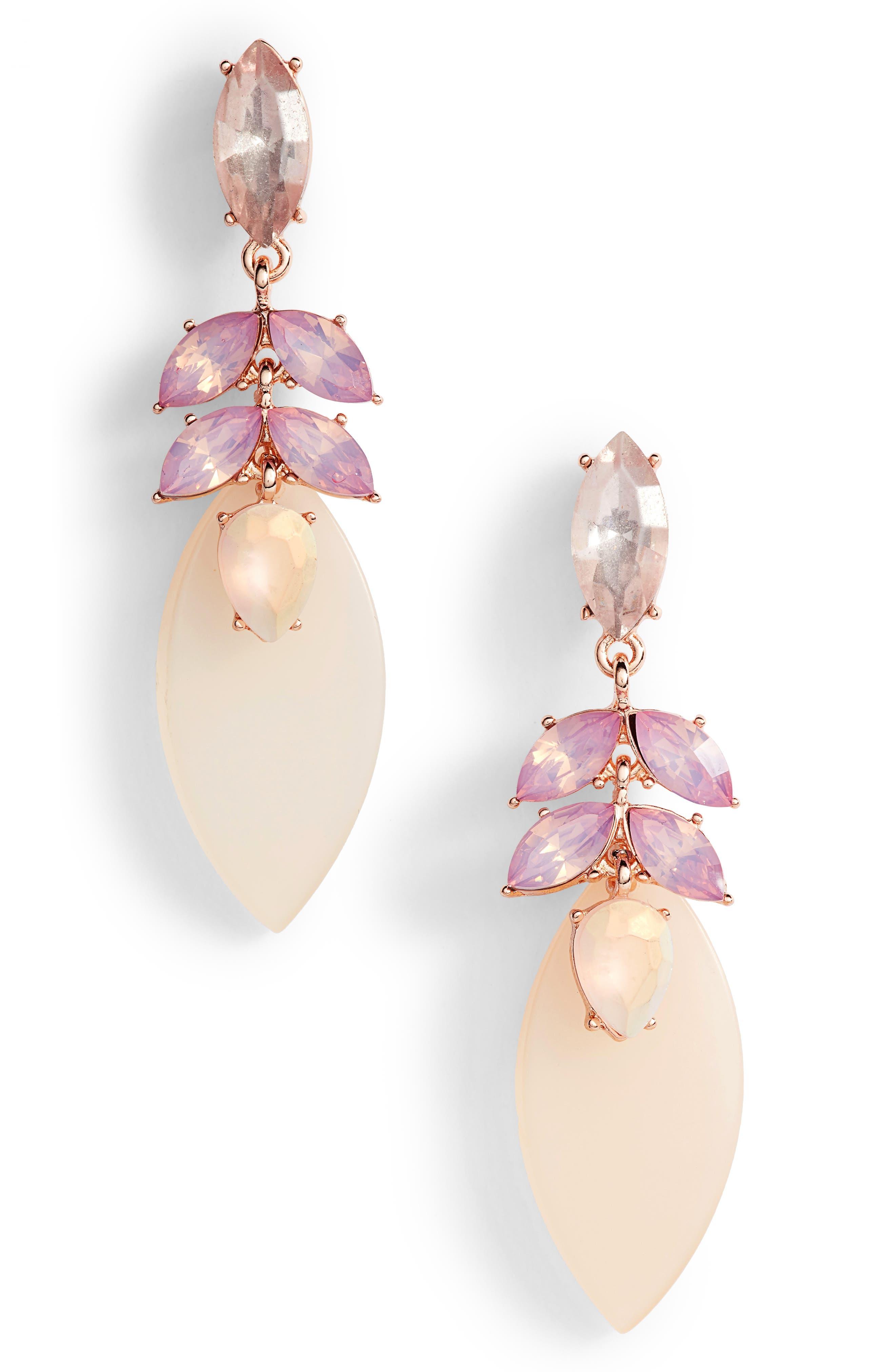 Petal Drop Earrings,                         Main,                         color, Pink Multi- Rose Gold