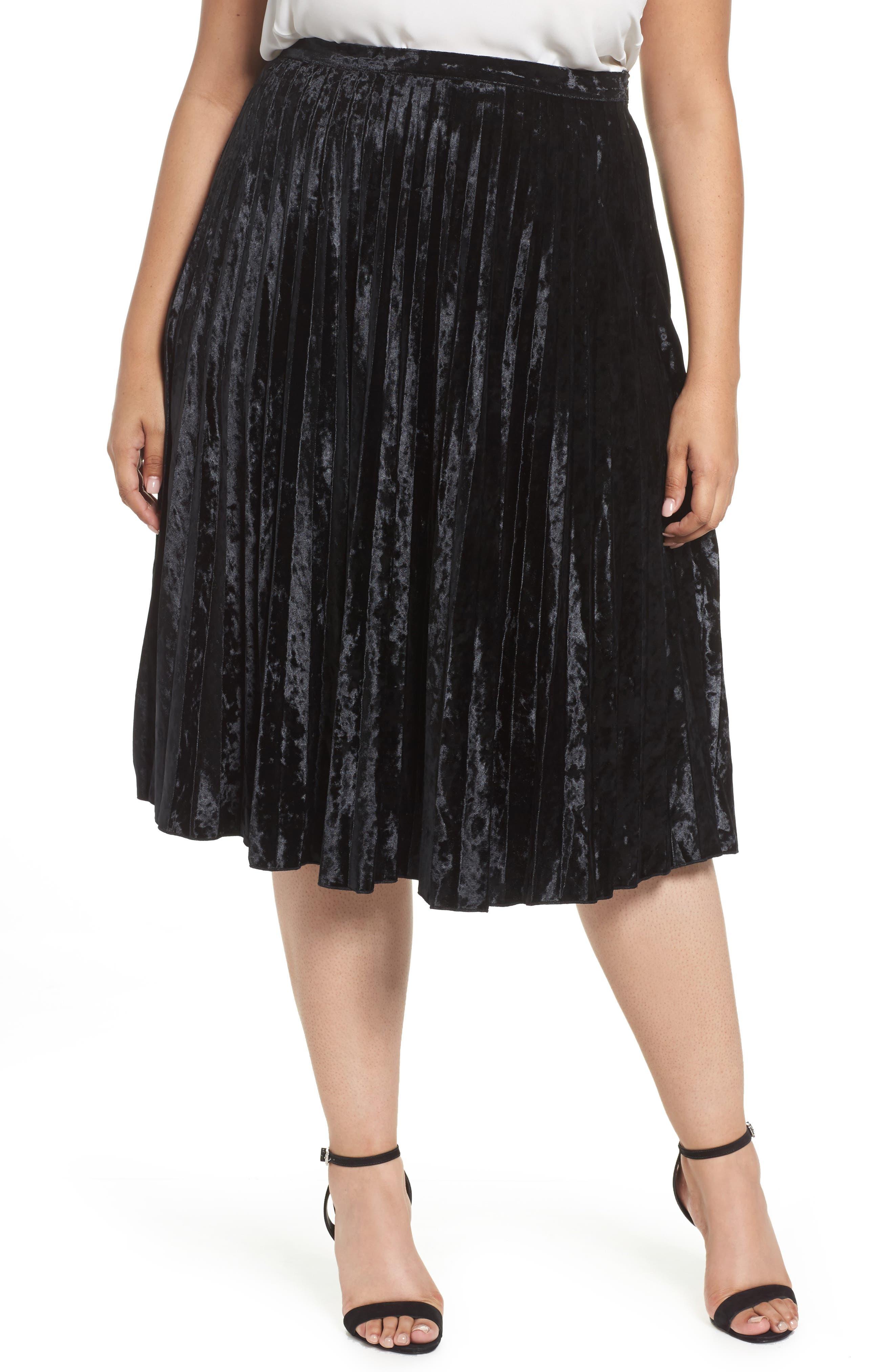Velvet Pleat Skirt,                             Main thumbnail 1, color,                             Black Velvet
