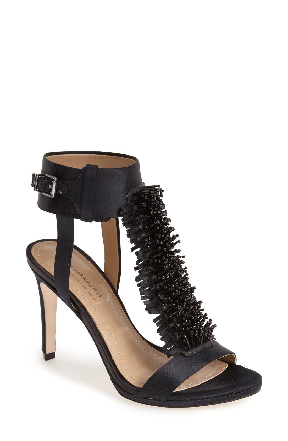 Main Image - BCBGMAXAZRIA 'Ma-Limbo' Fringe T-Strap Satin Sandal (Women)