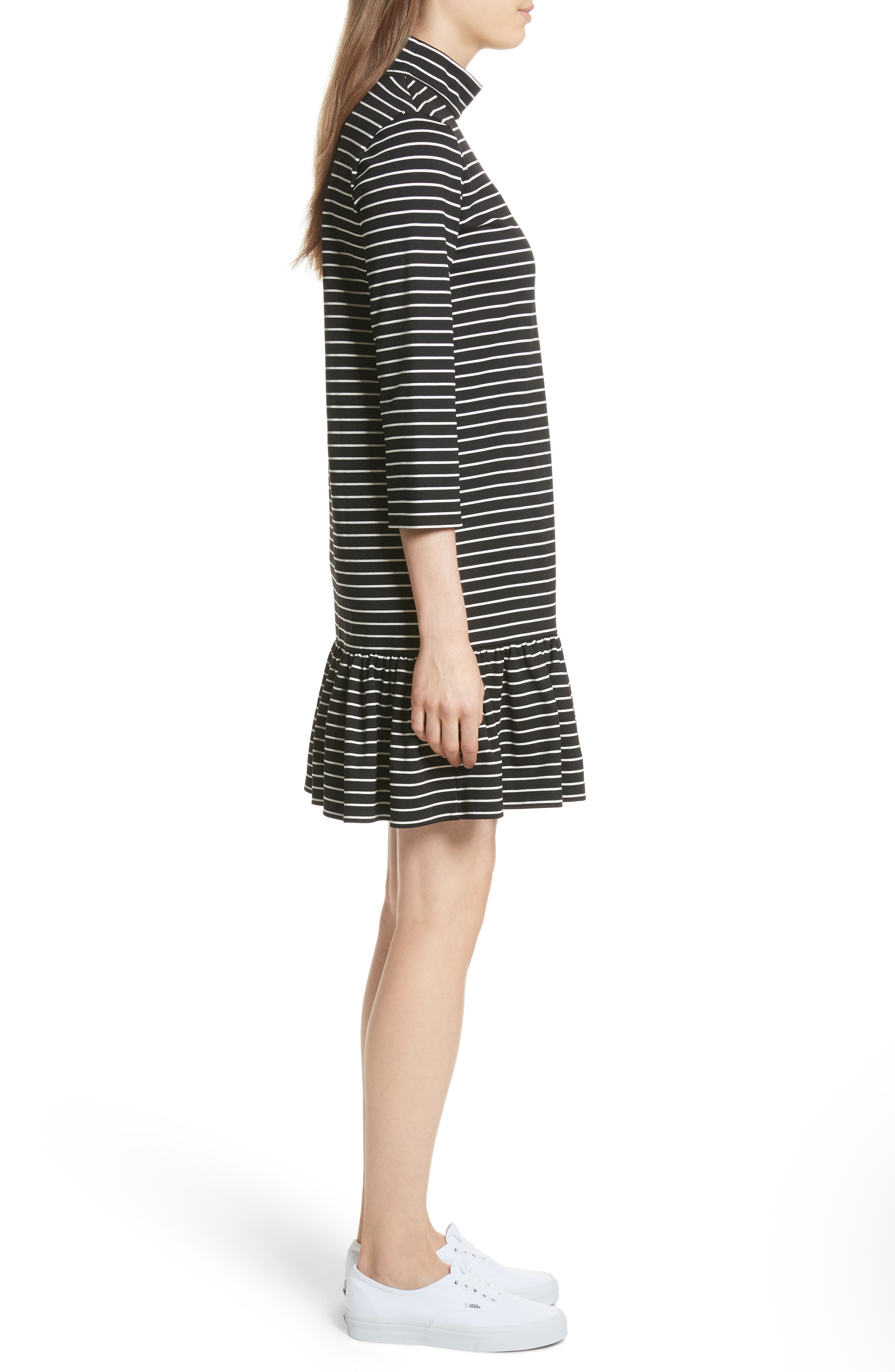 mock neck stripe knit dress,                             Alternate thumbnail 3, color,                             Black/ Off-White