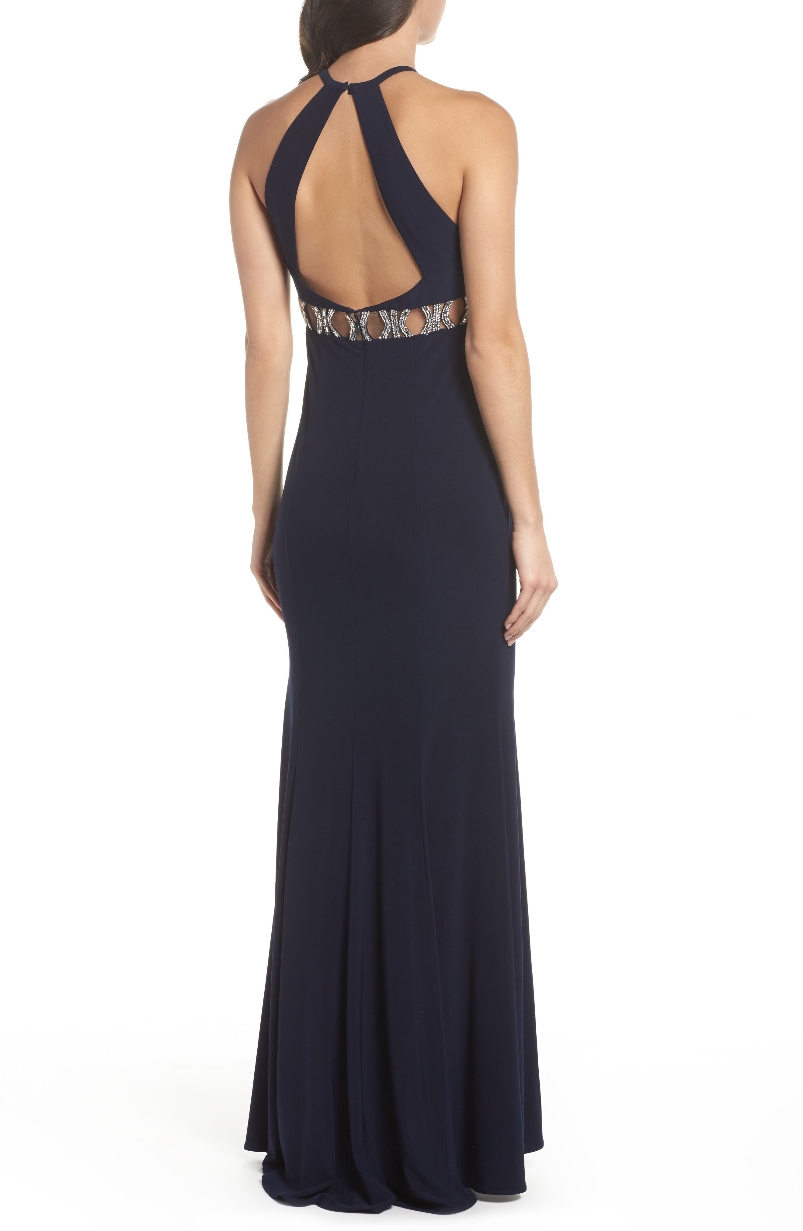 Embellished Halter Mermaid Gown,                             Alternate thumbnail 2, color,                             Navy/ Silver