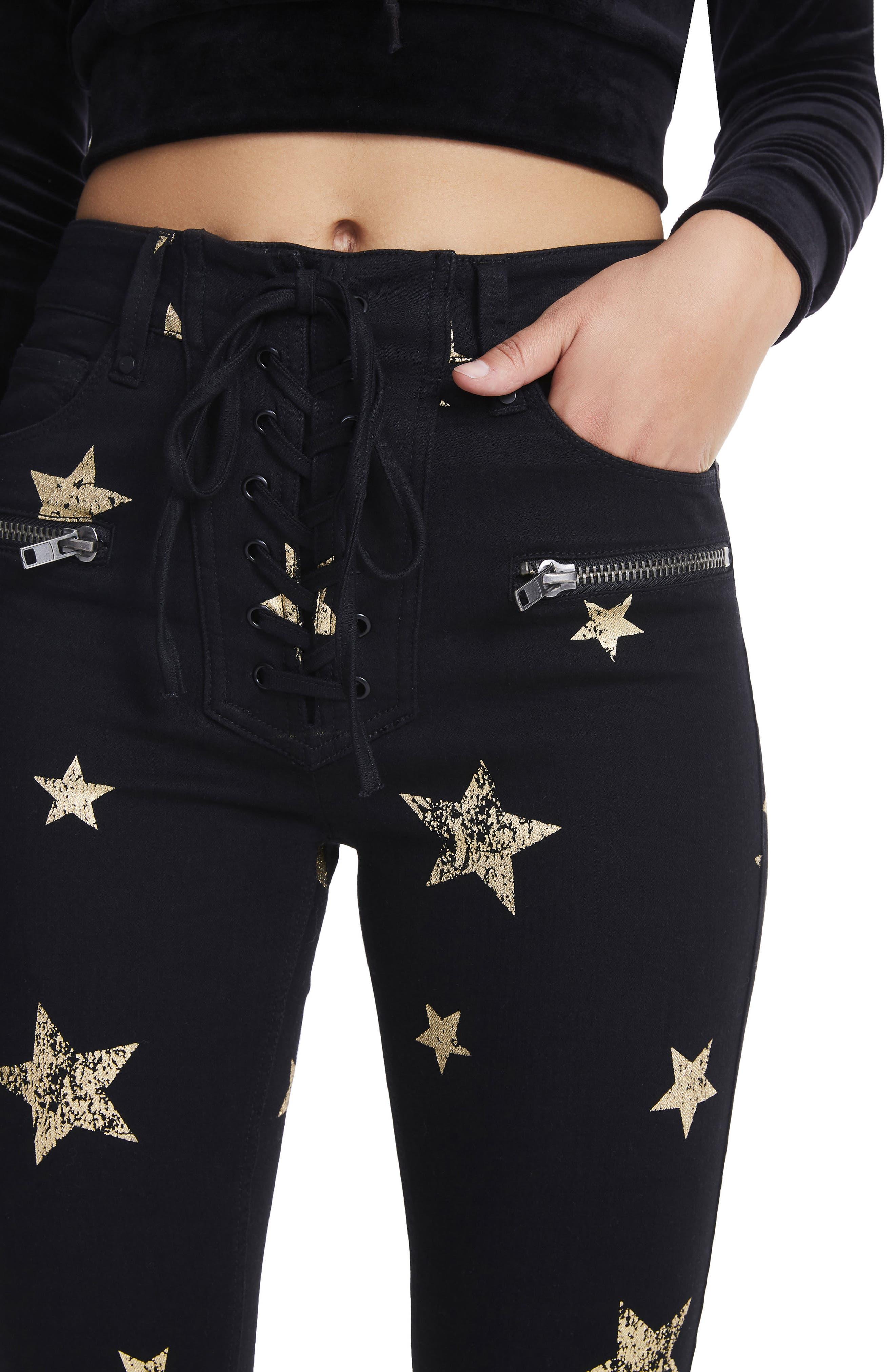 Alternate Image 5  - AFRM Kit Lace-Up High Waist Ankle Skinny Jeans (Rock Star)