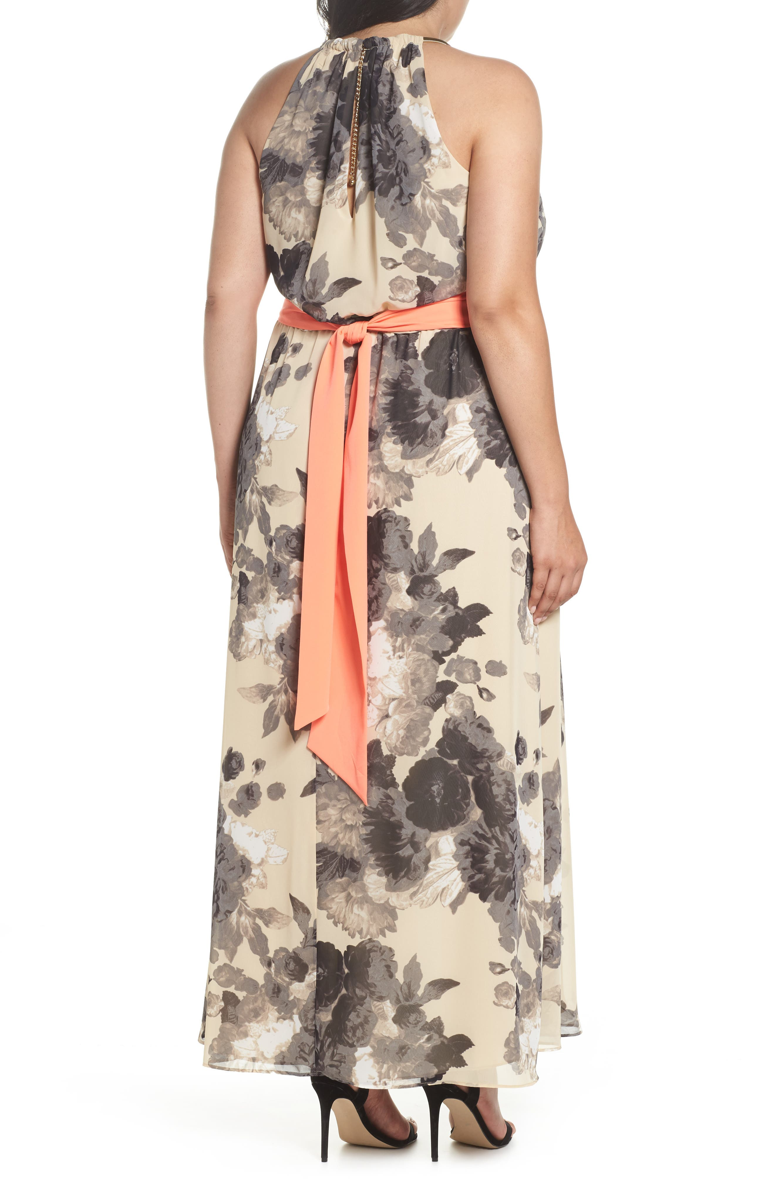 Floral Print Chiffon High/Low Dress,                             Alternate thumbnail 2, color,                             Taupe
