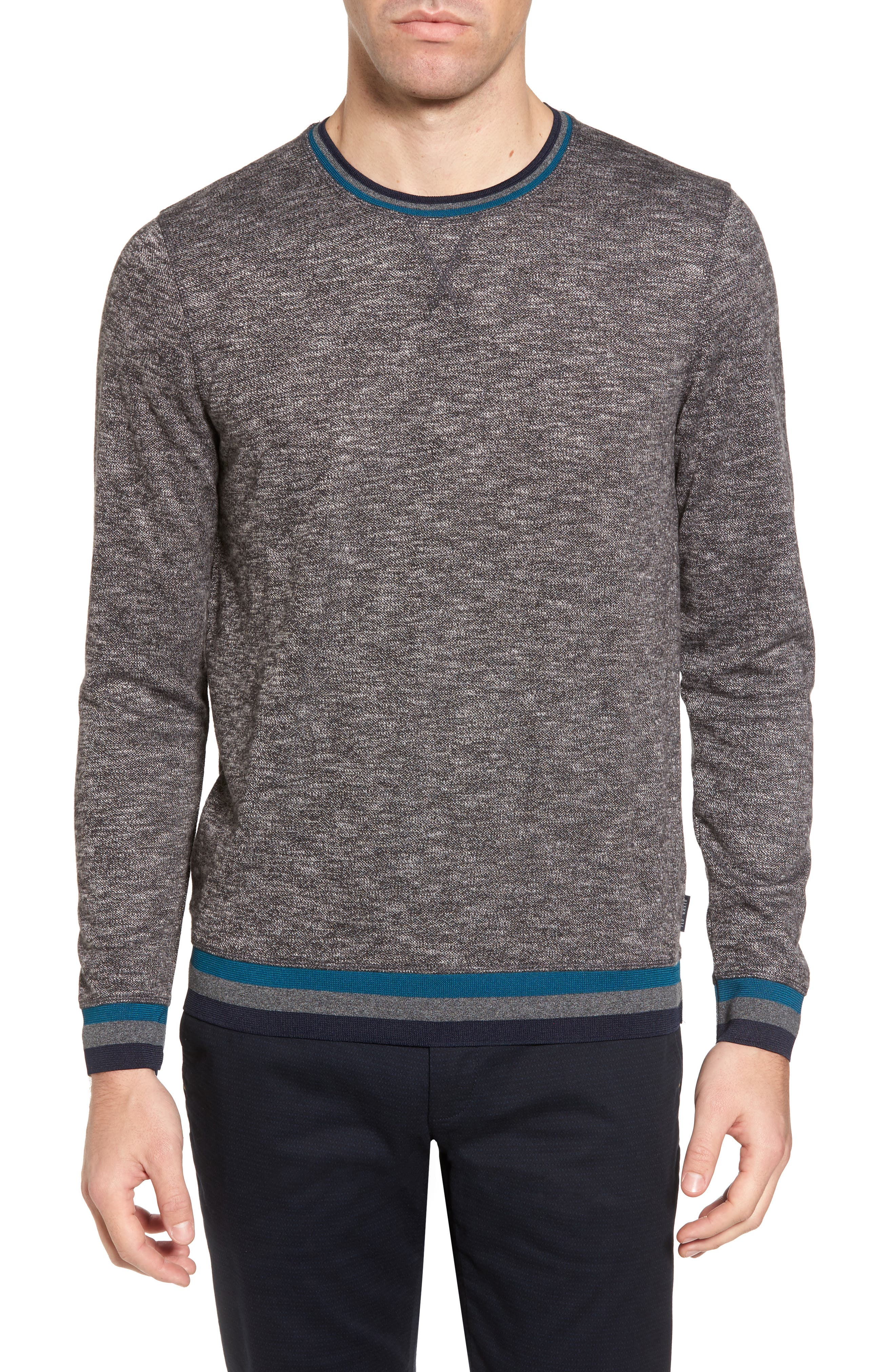 Slater Trim Fit Slub Sweatshirt,                             Main thumbnail 1, color,                             Black
