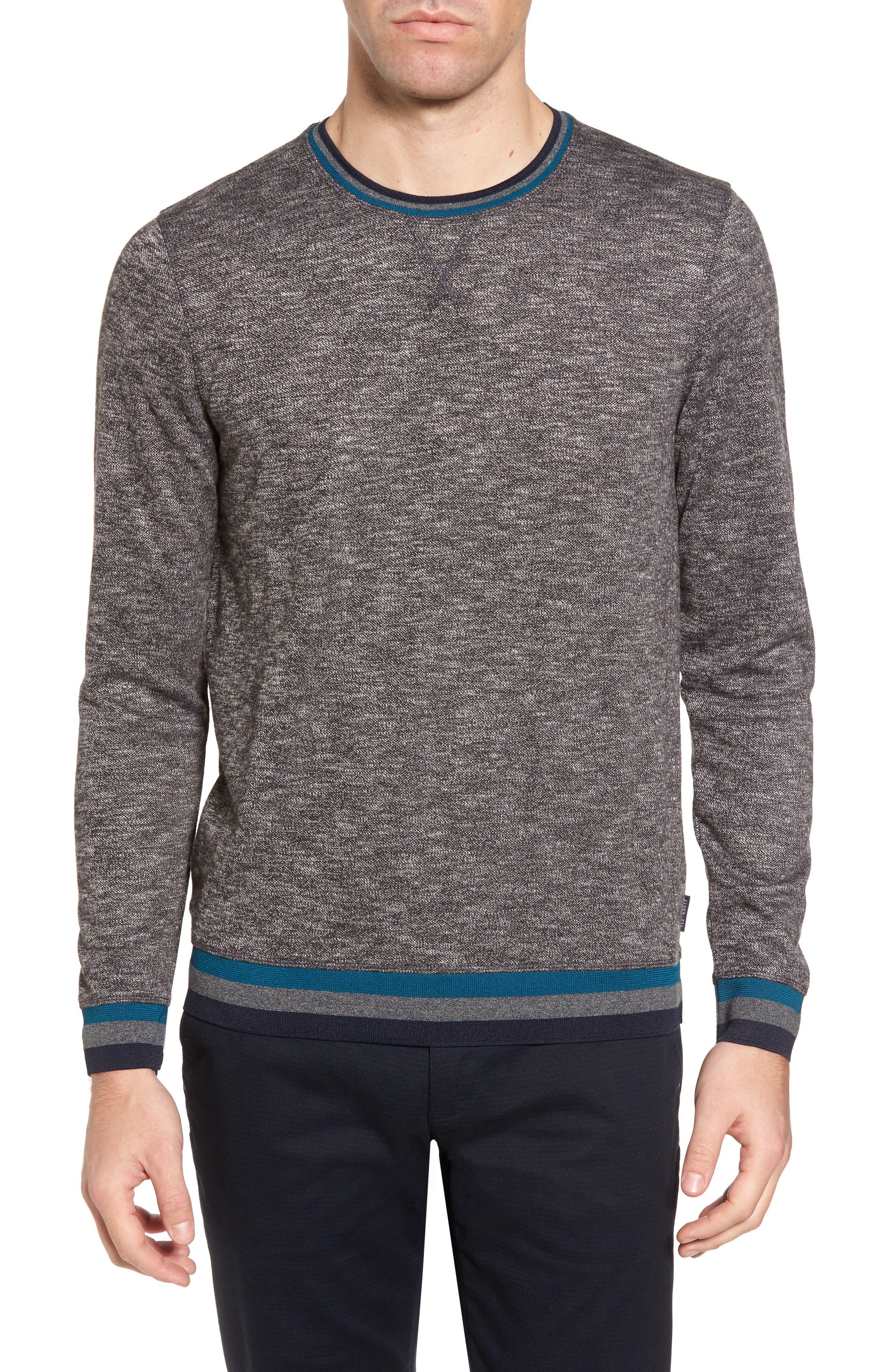 Slater Trim Fit Slub Sweatshirt,                         Main,                         color, Black
