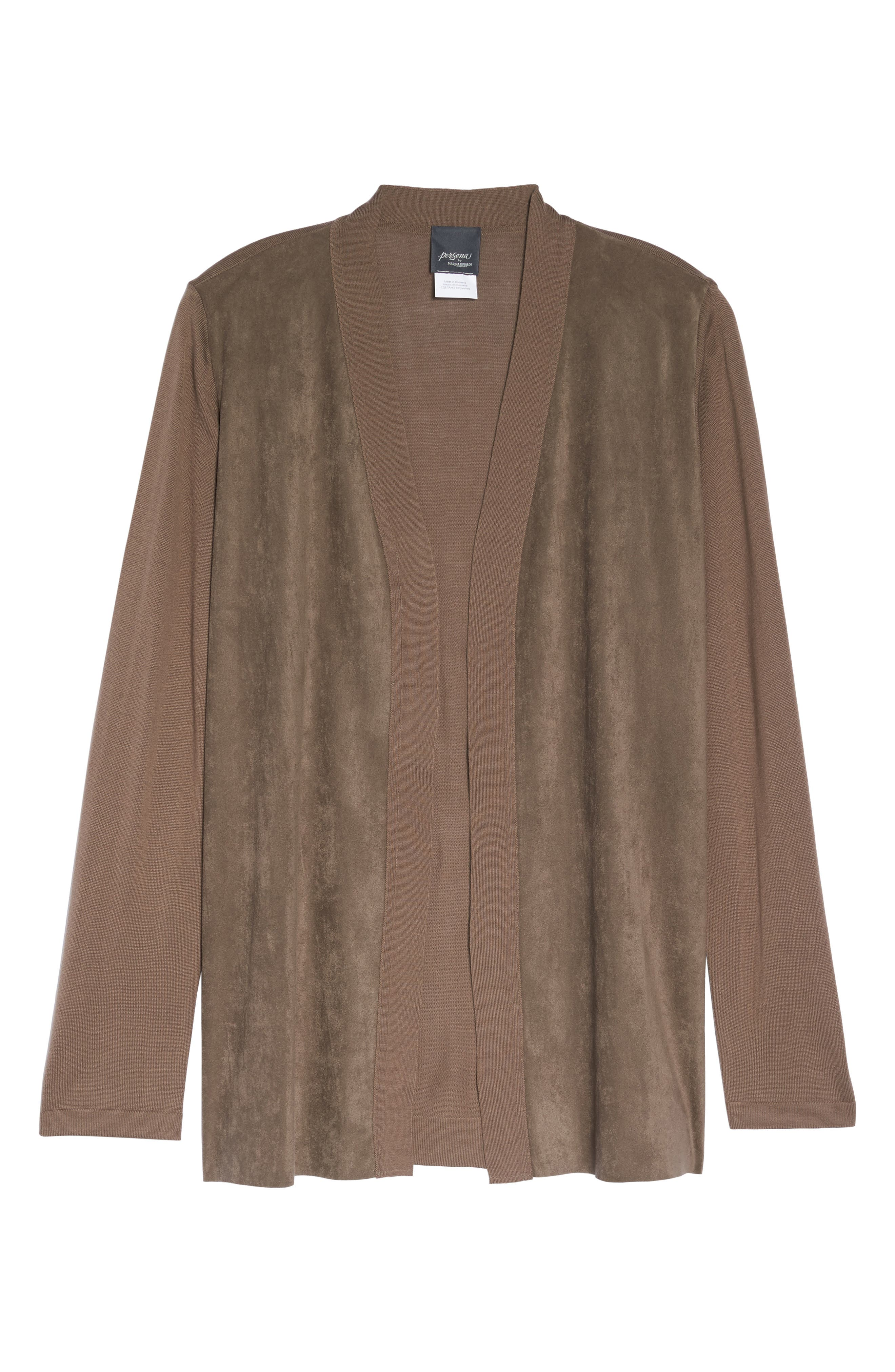 Marilena Faux Suede Front Cardigan,                             Alternate thumbnail 6, color,                             Dark Beige