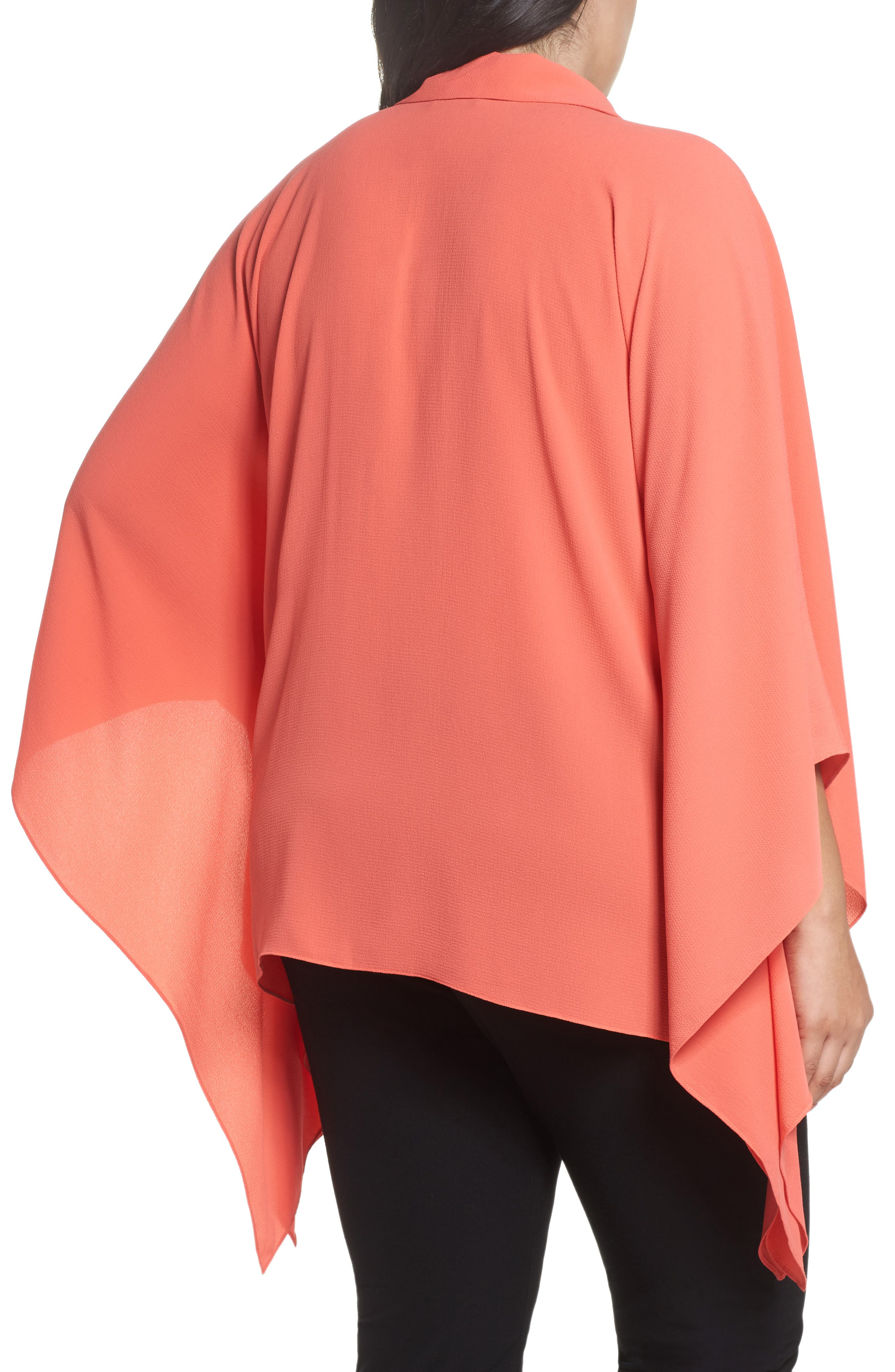 Button Down Collared Poncho Top,                             Alternate thumbnail 2, color,                             Melon