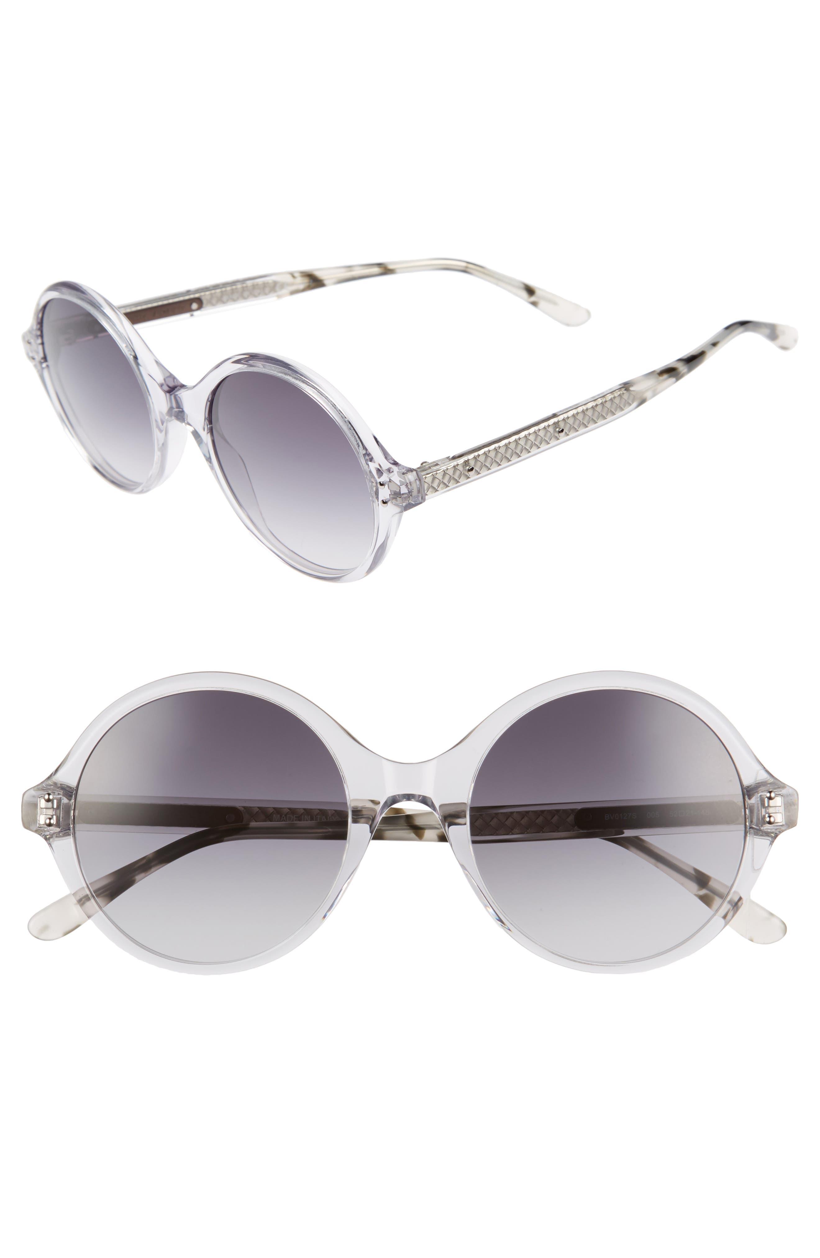 52mm Round Sunglasses,                         Main,                         color, Grey