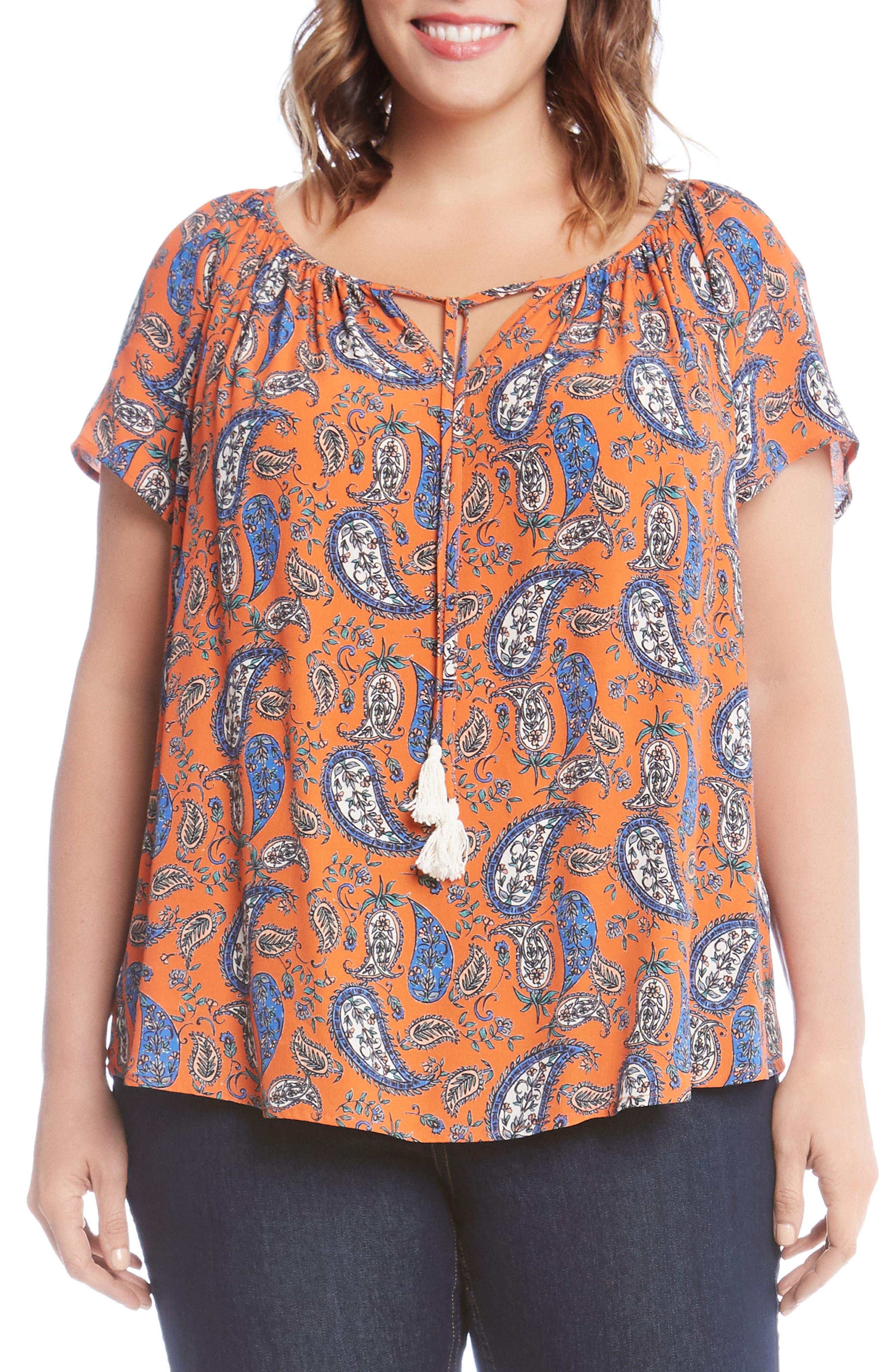 Karen Kane Bell Sleeve Paisley Top (Plus Size)