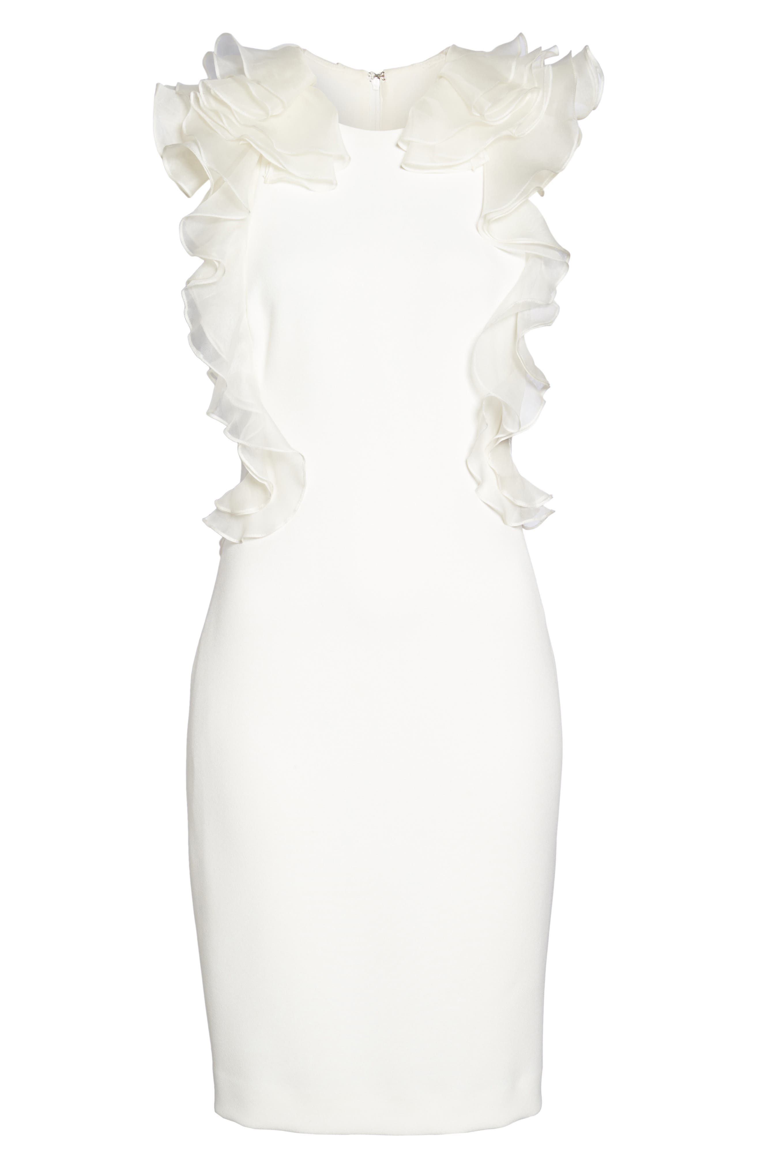 Ruffle Back Sheath Dress,                             Alternate thumbnail 6, color,                             Ivory