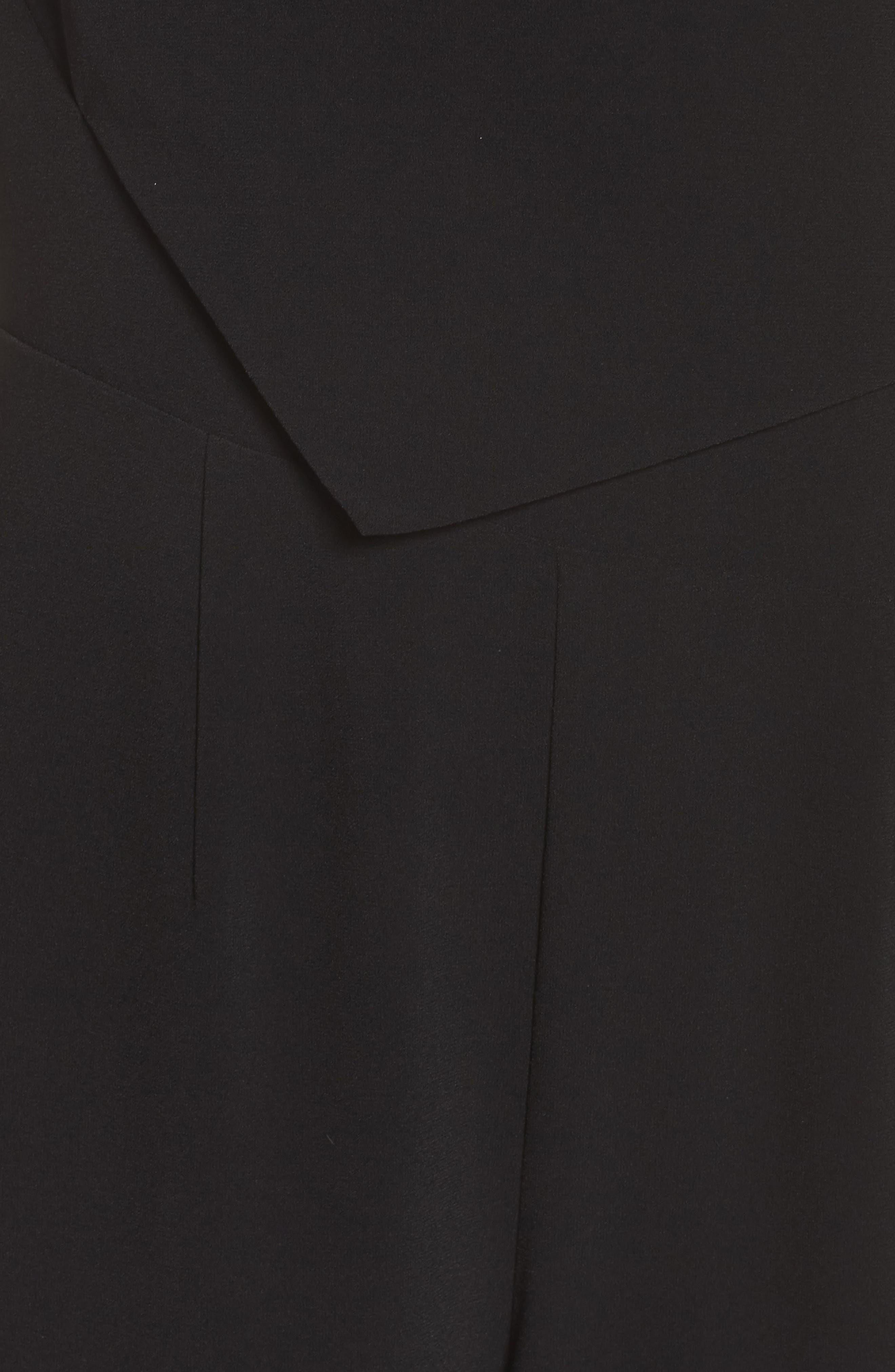 Asymmetrical Pleat Jumpsuit,                             Alternate thumbnail 6, color,                             Black