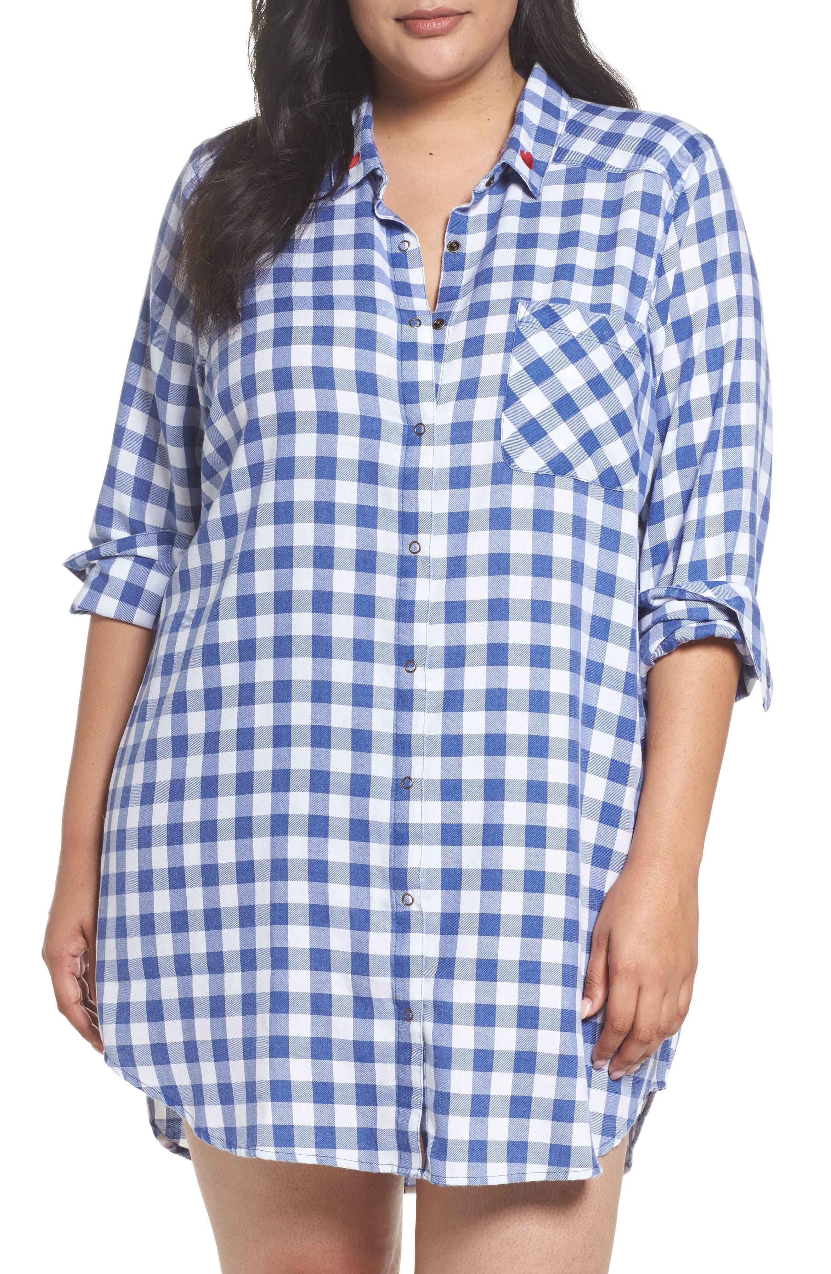 Plaid Night Shirt,                         Main,                         color, Blue Marine Gingham