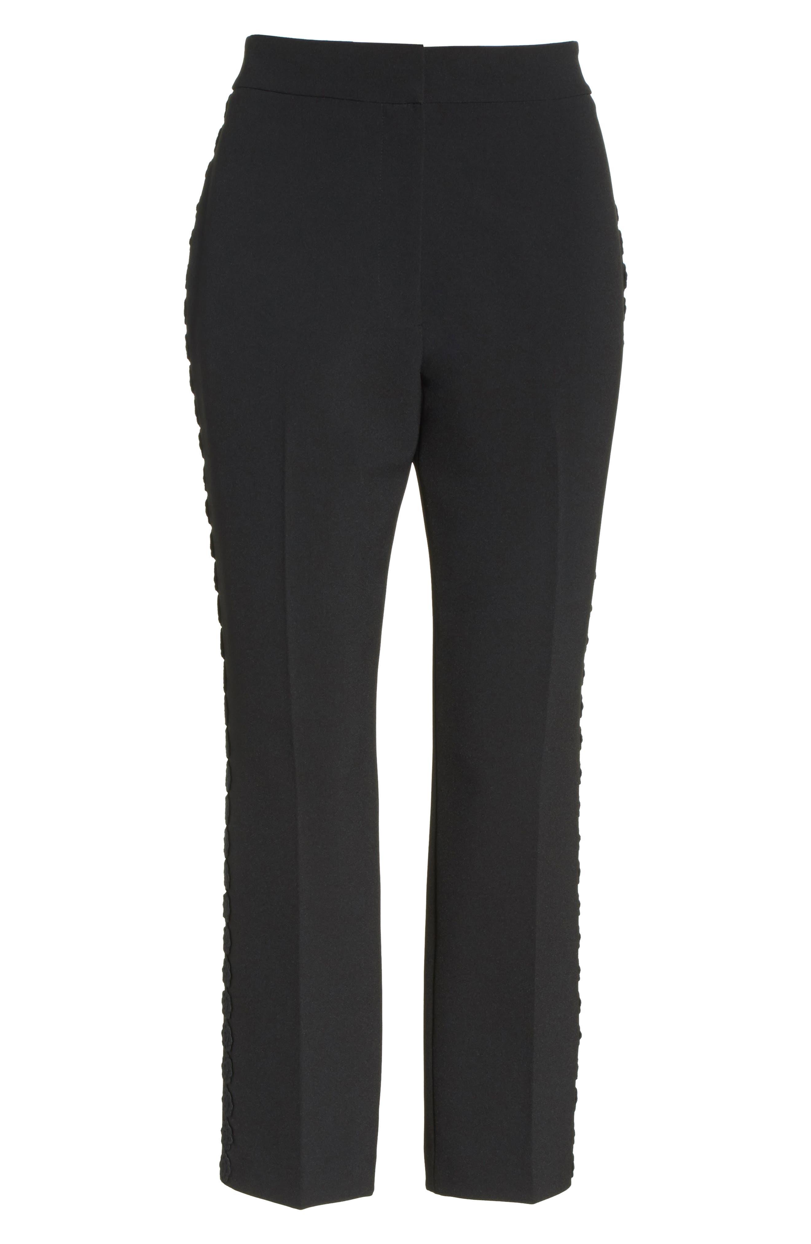 lace trim crop cigarette pants,                             Alternate thumbnail 6, color,                             Black