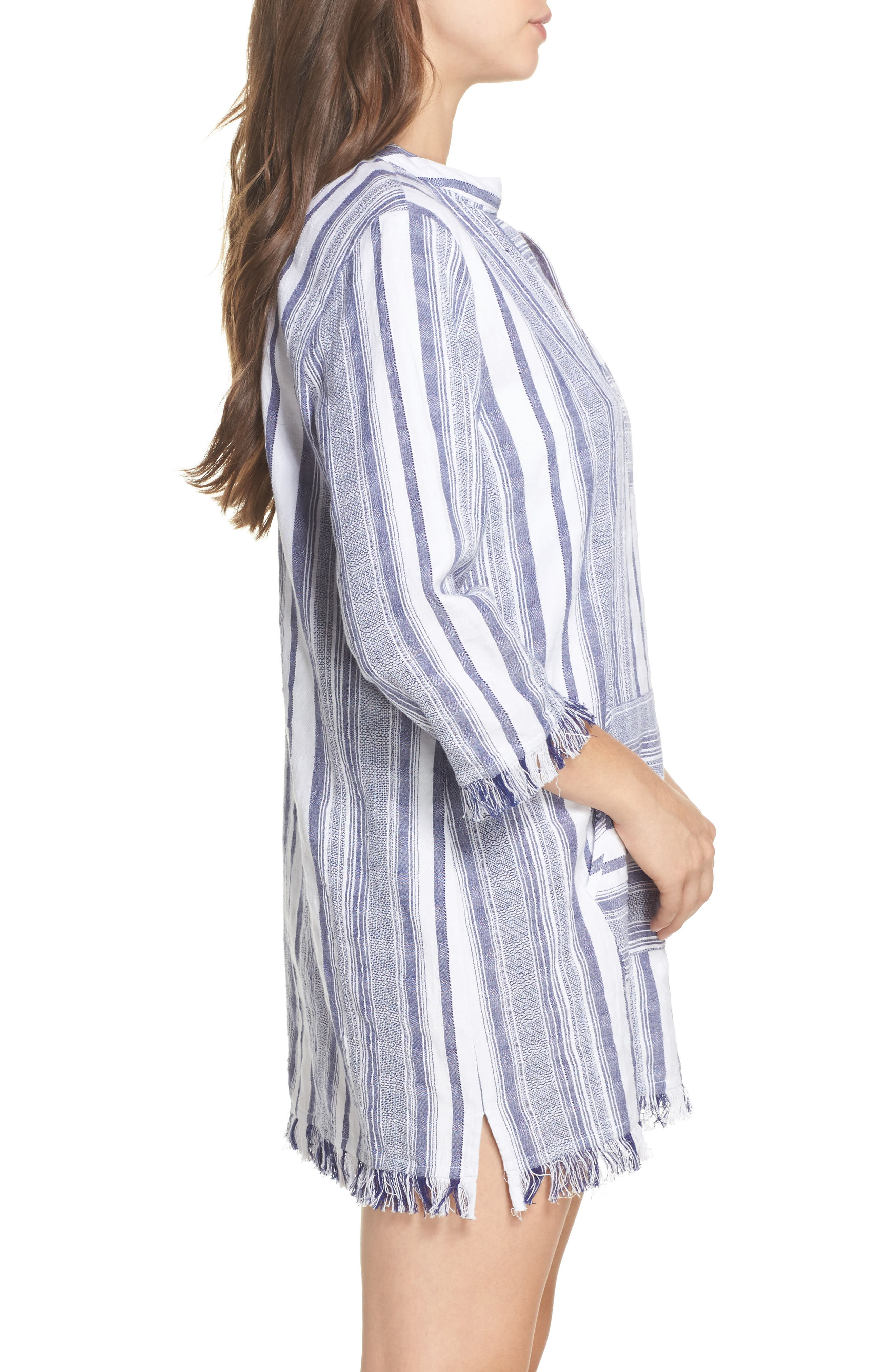 Yarn Dye Stripe Cover-Up Tunic,                             Alternate thumbnail 3, color,                             White