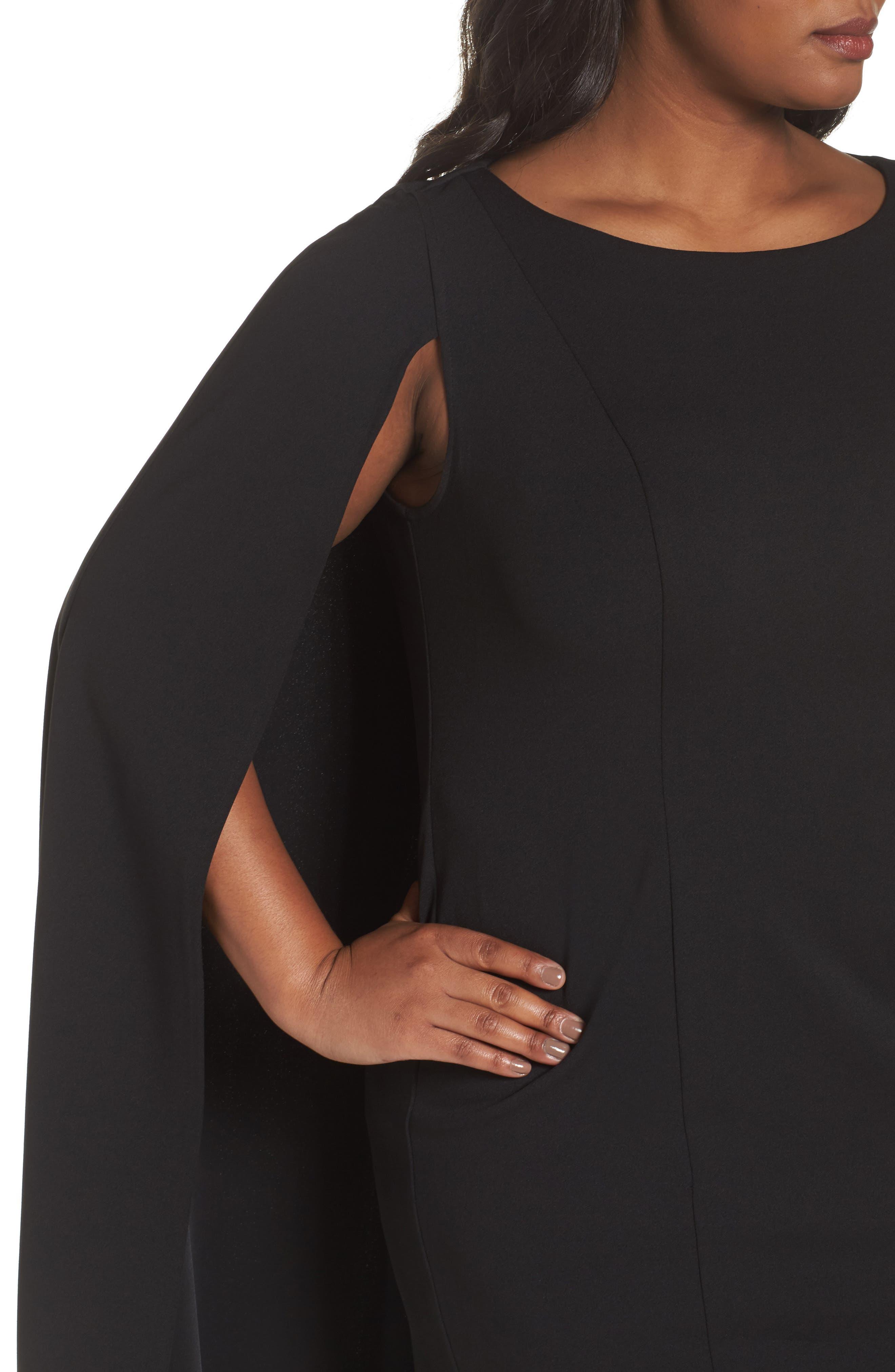 Cape Sheath Dress,                             Alternate thumbnail 4, color,                             Black