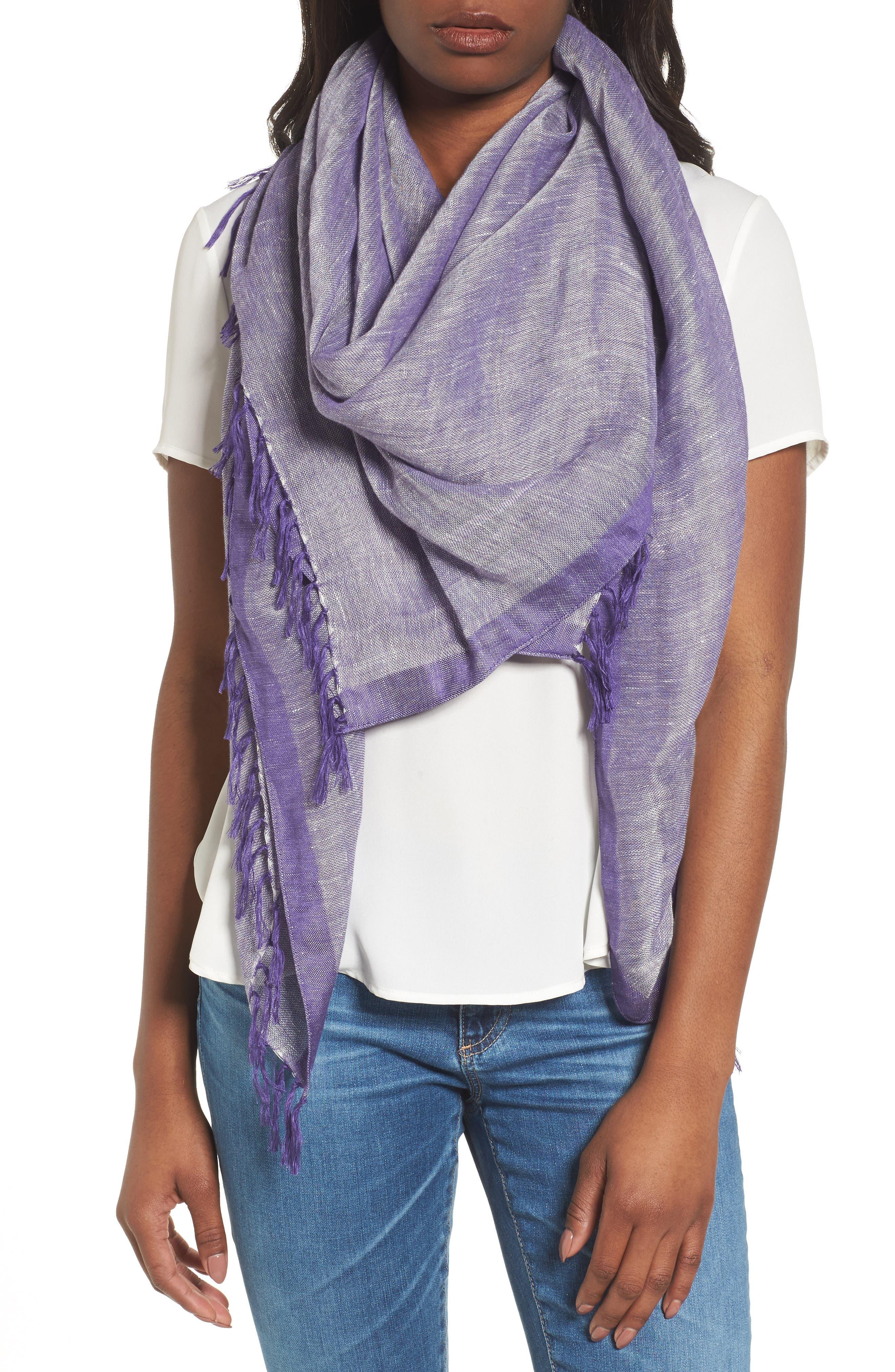 Cross Dyed Linen Blend Scarf,                         Main,                         color, Purple Orient Combo