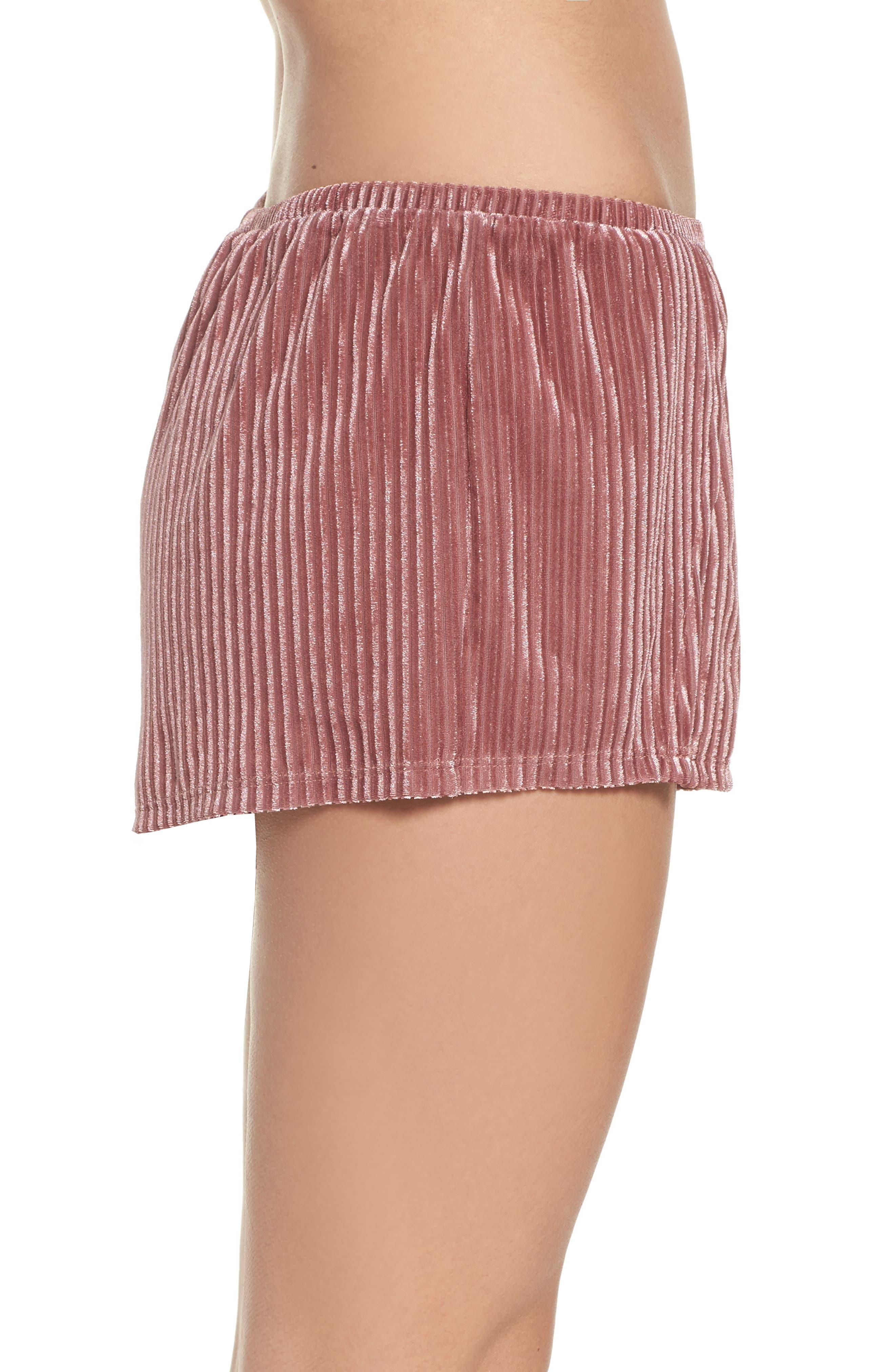 Velvet Pajama Shorts,                             Alternate thumbnail 3, color,                             Rose