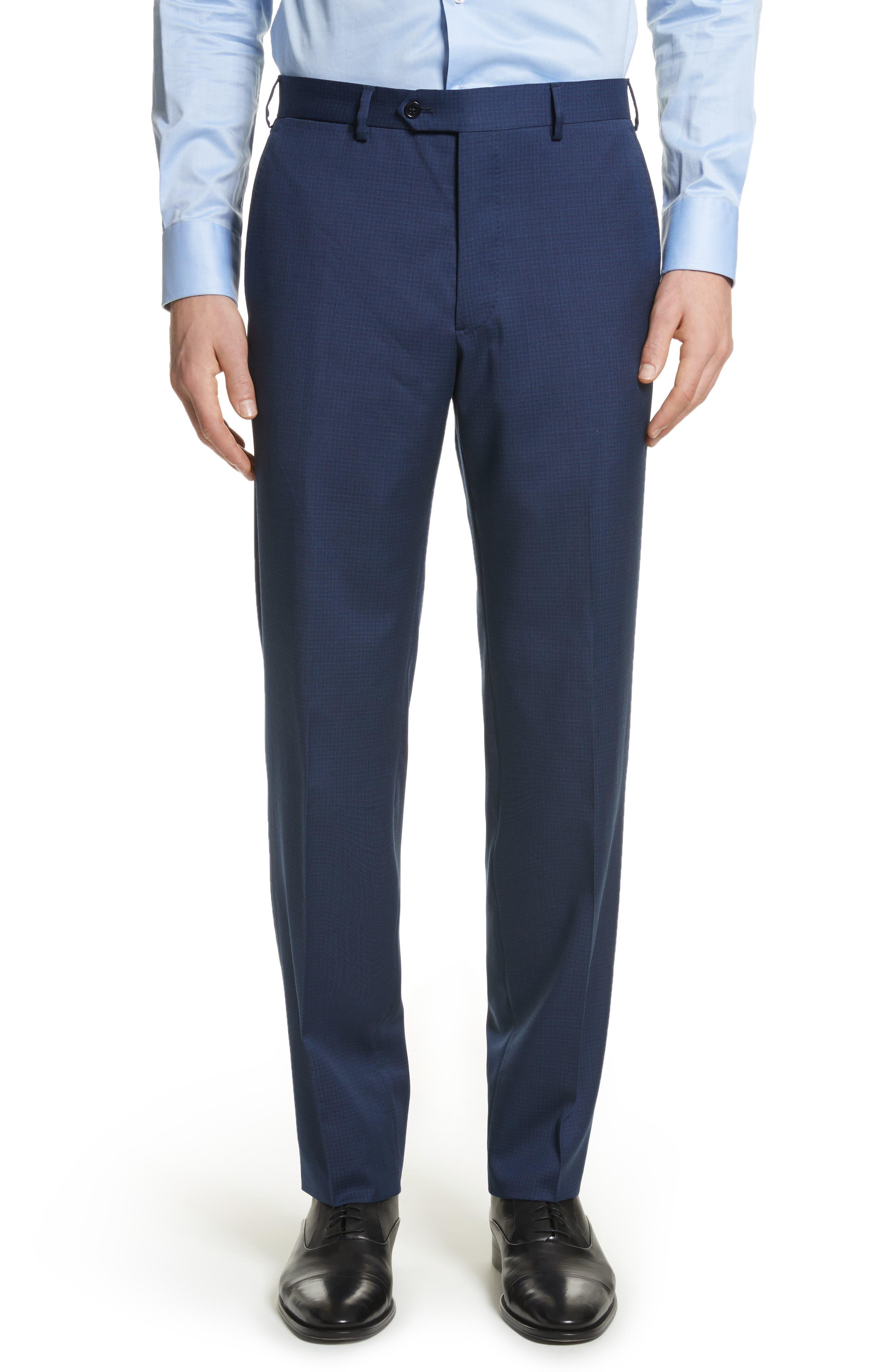 G Line Trim Fit Check Wool Suit,                             Alternate thumbnail 5, color,                             Navy