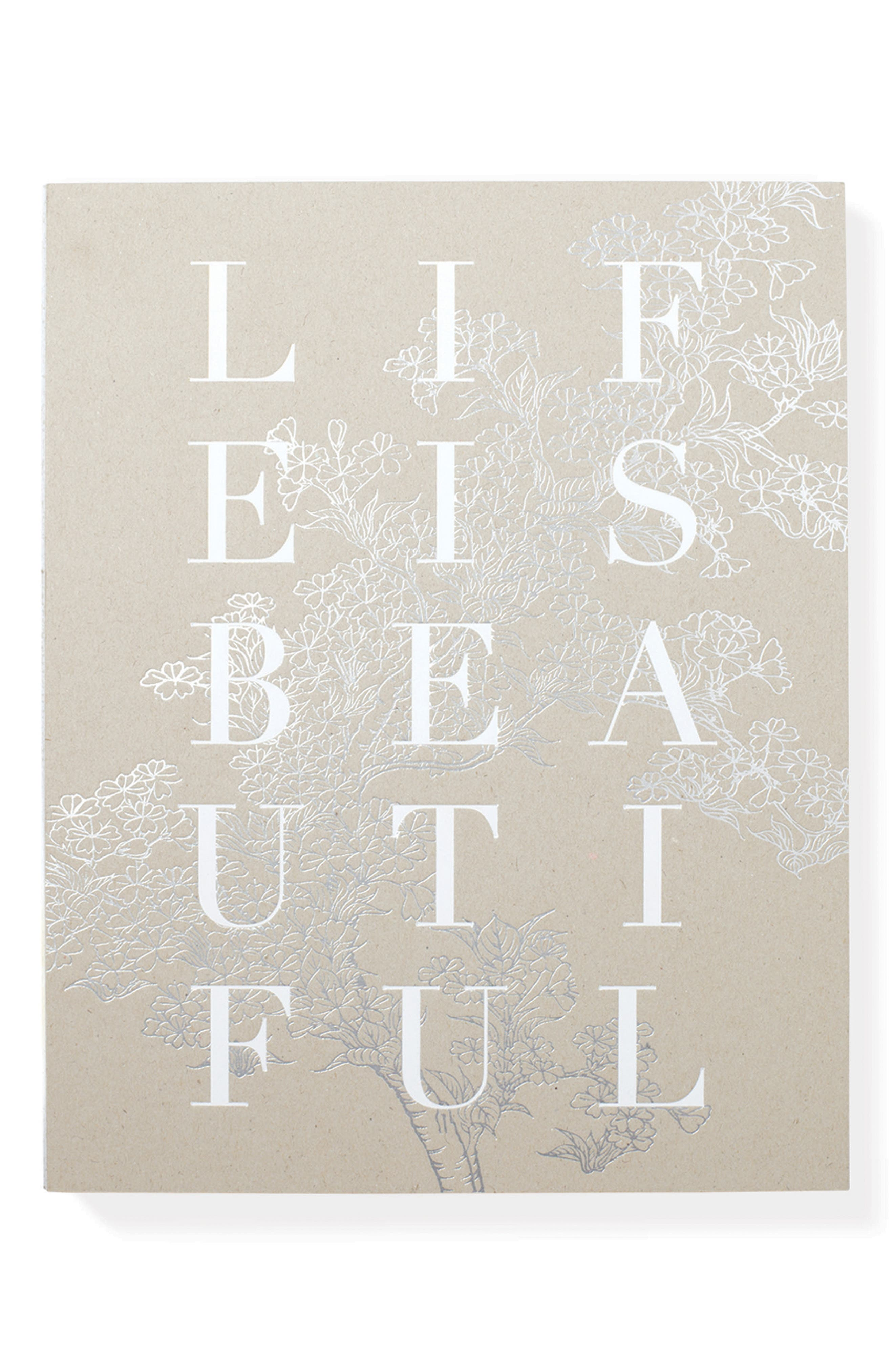 Life Is Beautiful Notebook,                             Main thumbnail 1, color,                             Beige