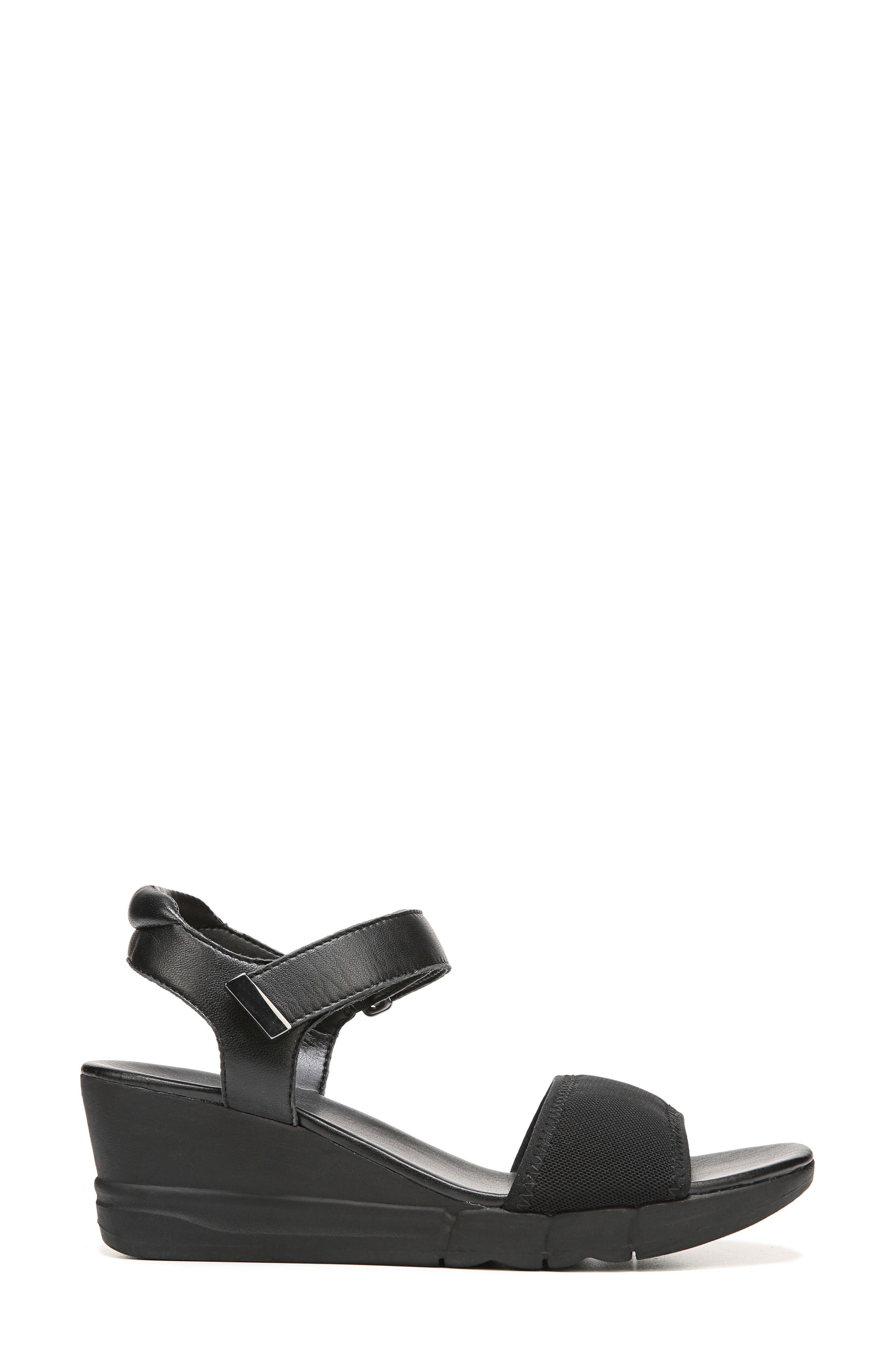Irena Wedge Sandal,                             Alternate thumbnail 3, color,                             Black Leather
