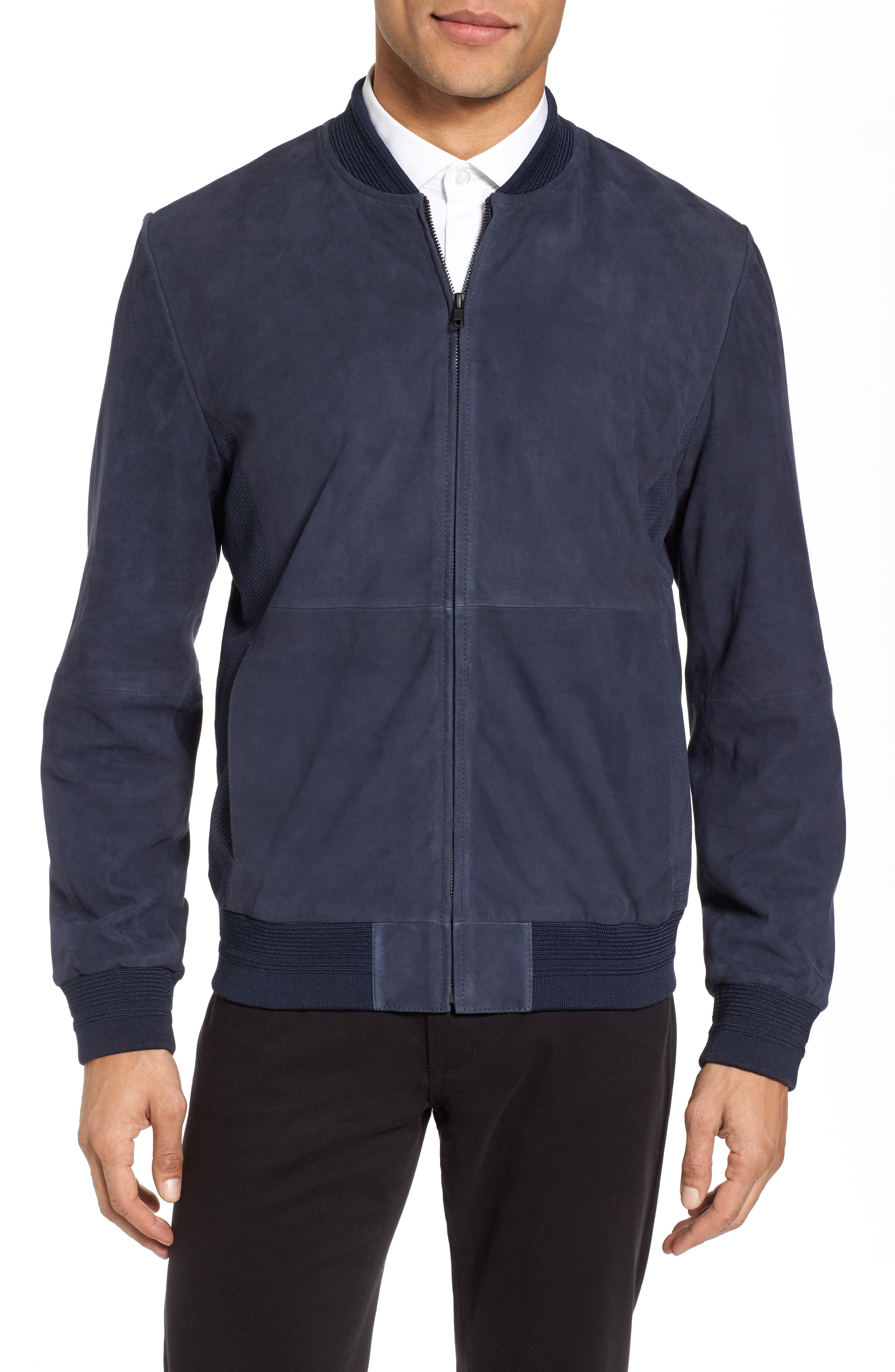 Suede Bomber Jacket,                             Main thumbnail 1, color,                             Navy Blue
