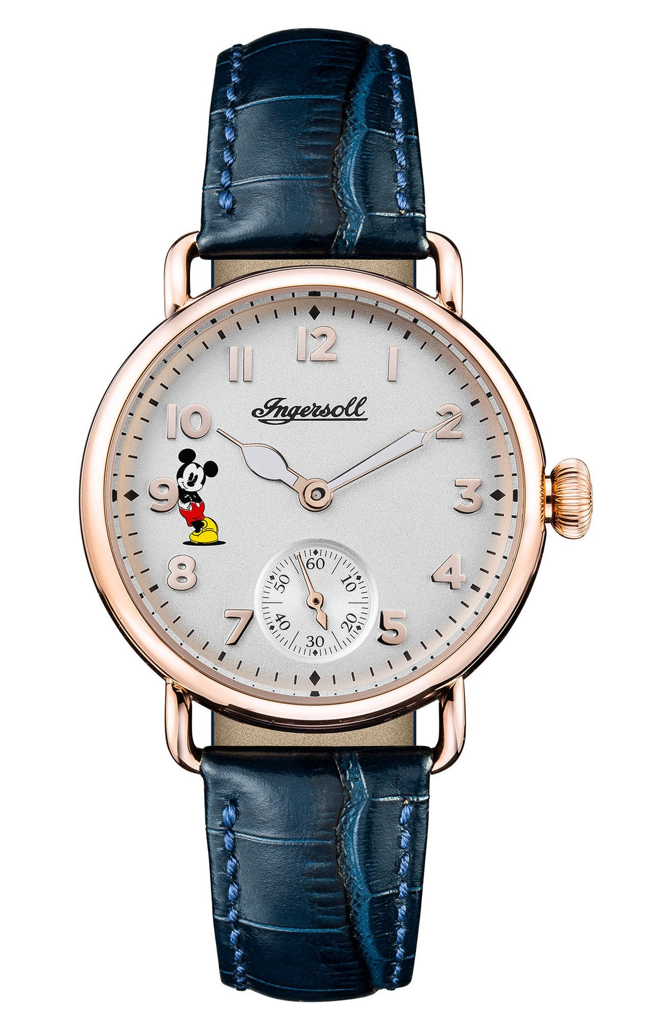 Ingersoll Trenton Disney Leather Strap Watch, 31mm,                             Main thumbnail 1, color,                             Blue/ White/ Rose Gold