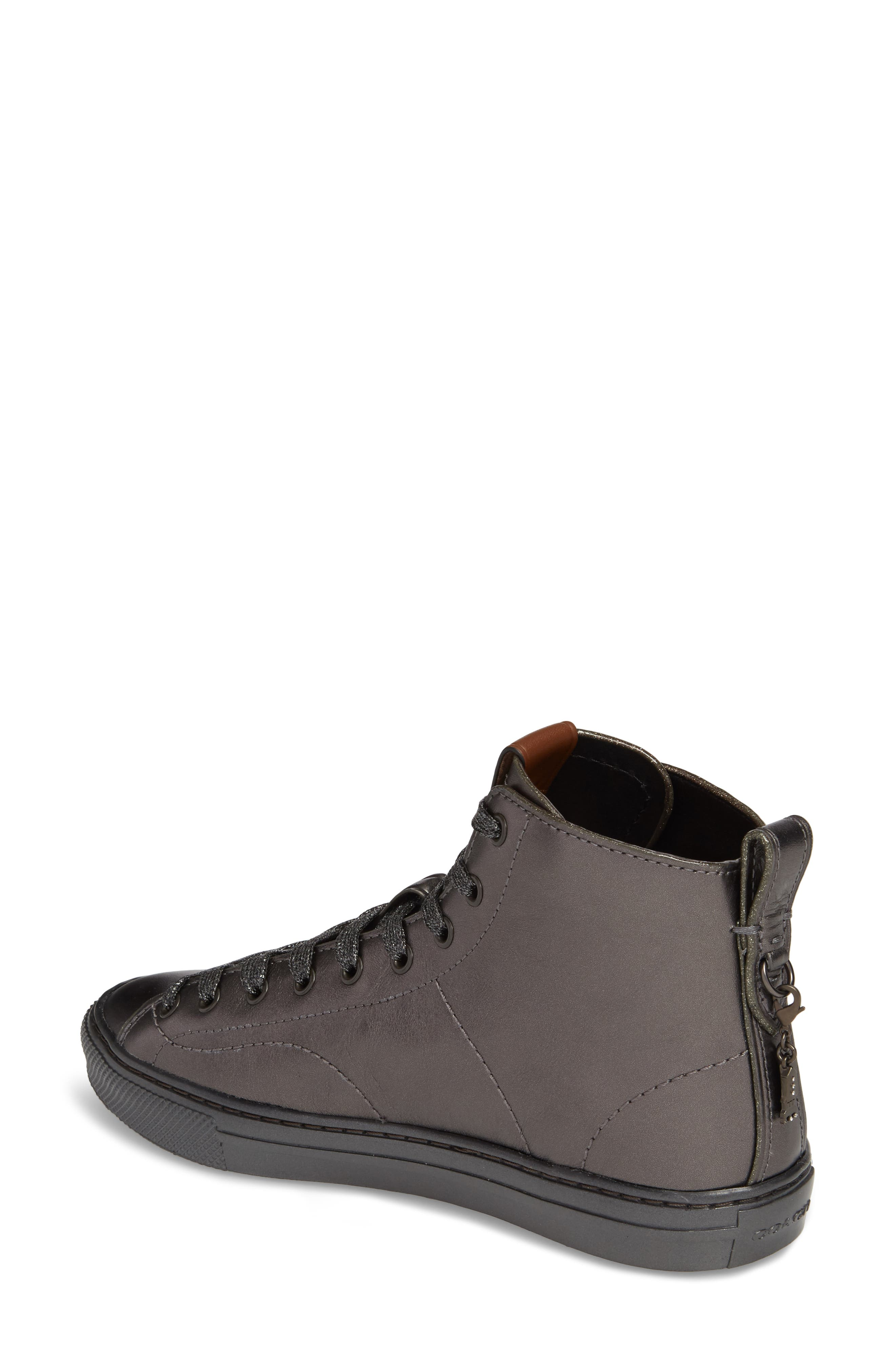 Patch High Top Sneaker,                             Alternate thumbnail 2, color,                             Gunmetal Leather