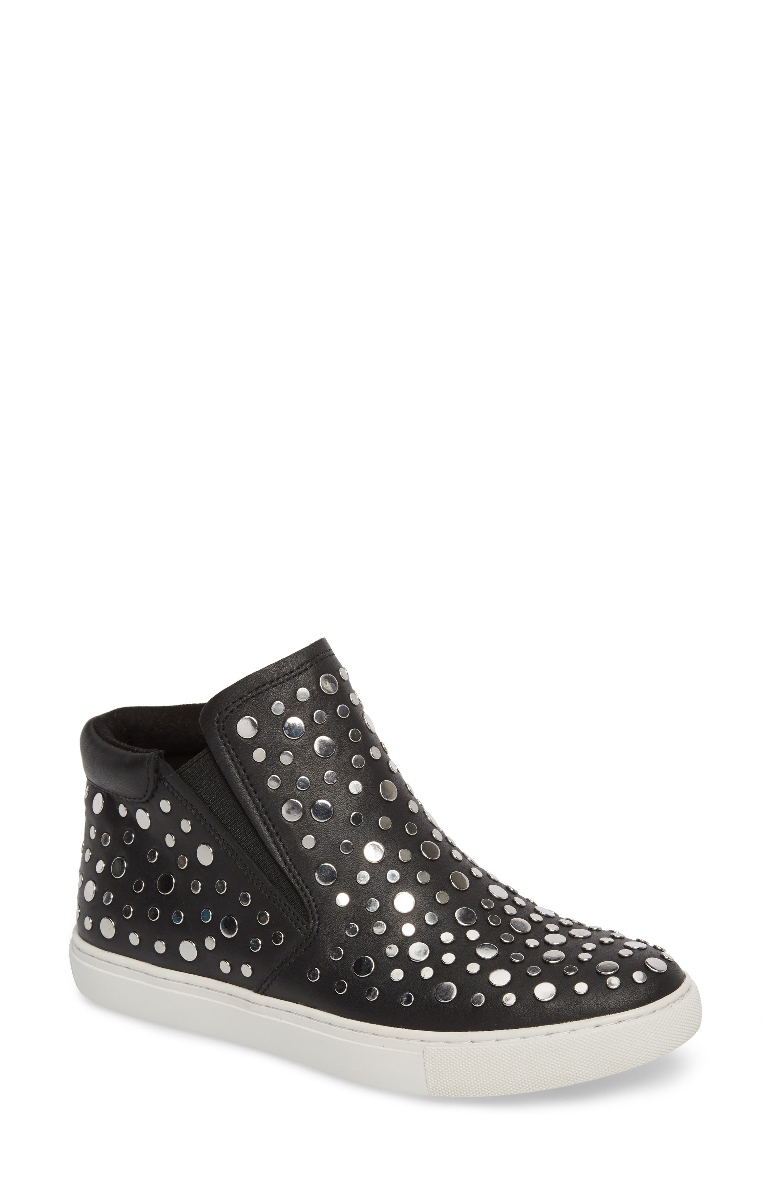 Kalvin Studded High Top Sneaker,                         Main,                         color, Black Leather