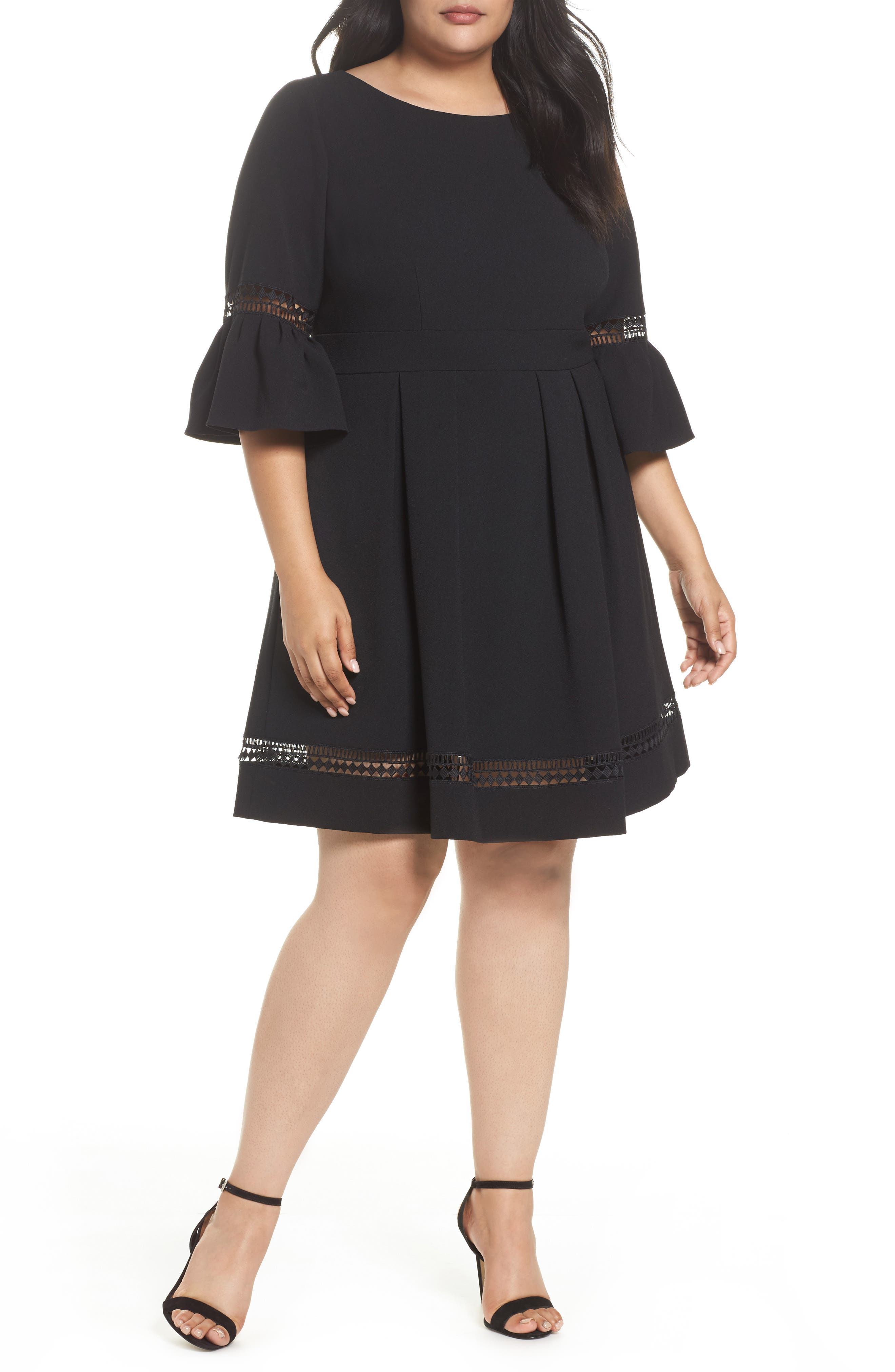 Bell Sleeve Fit & Flare Dress,                         Main,                         color, Black