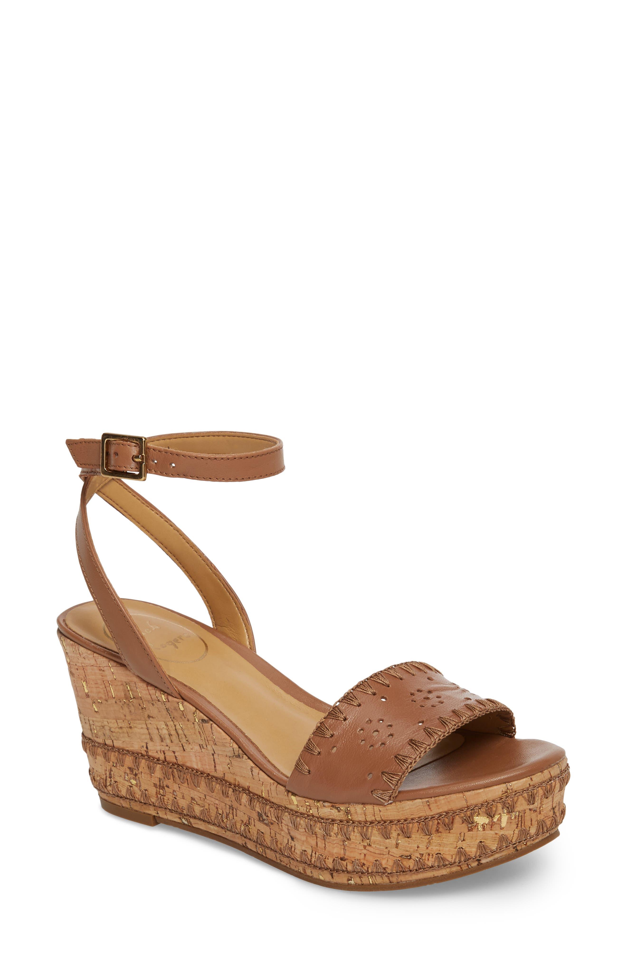 Lennon Platform Wedge Sandal,                             Main thumbnail 1, color,                             Cognac Leather