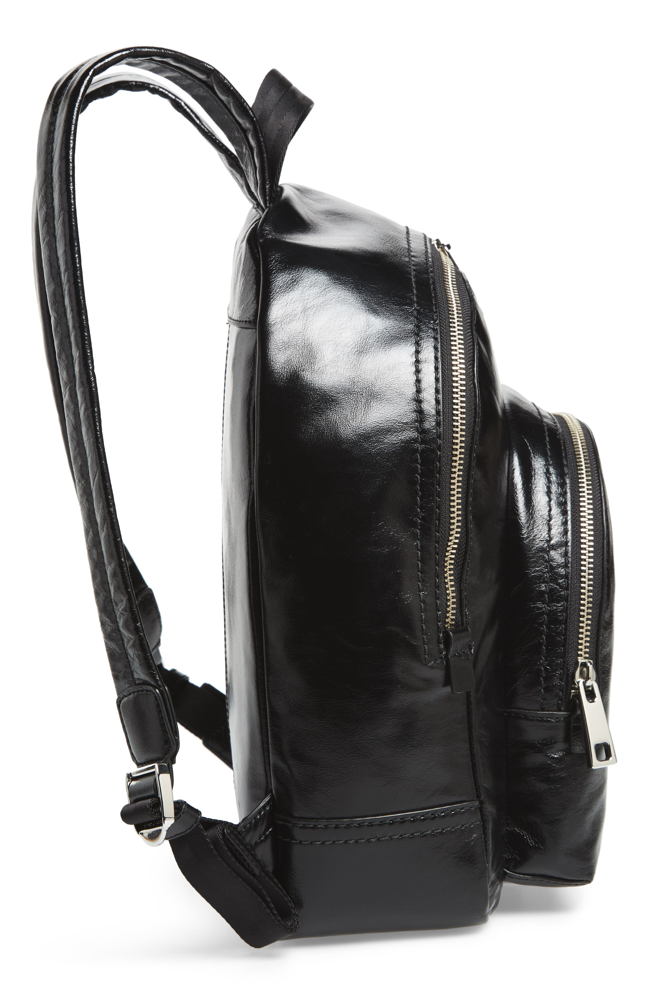 Double Pack Leather Backpack,                             Alternate thumbnail 5, color,                             Black