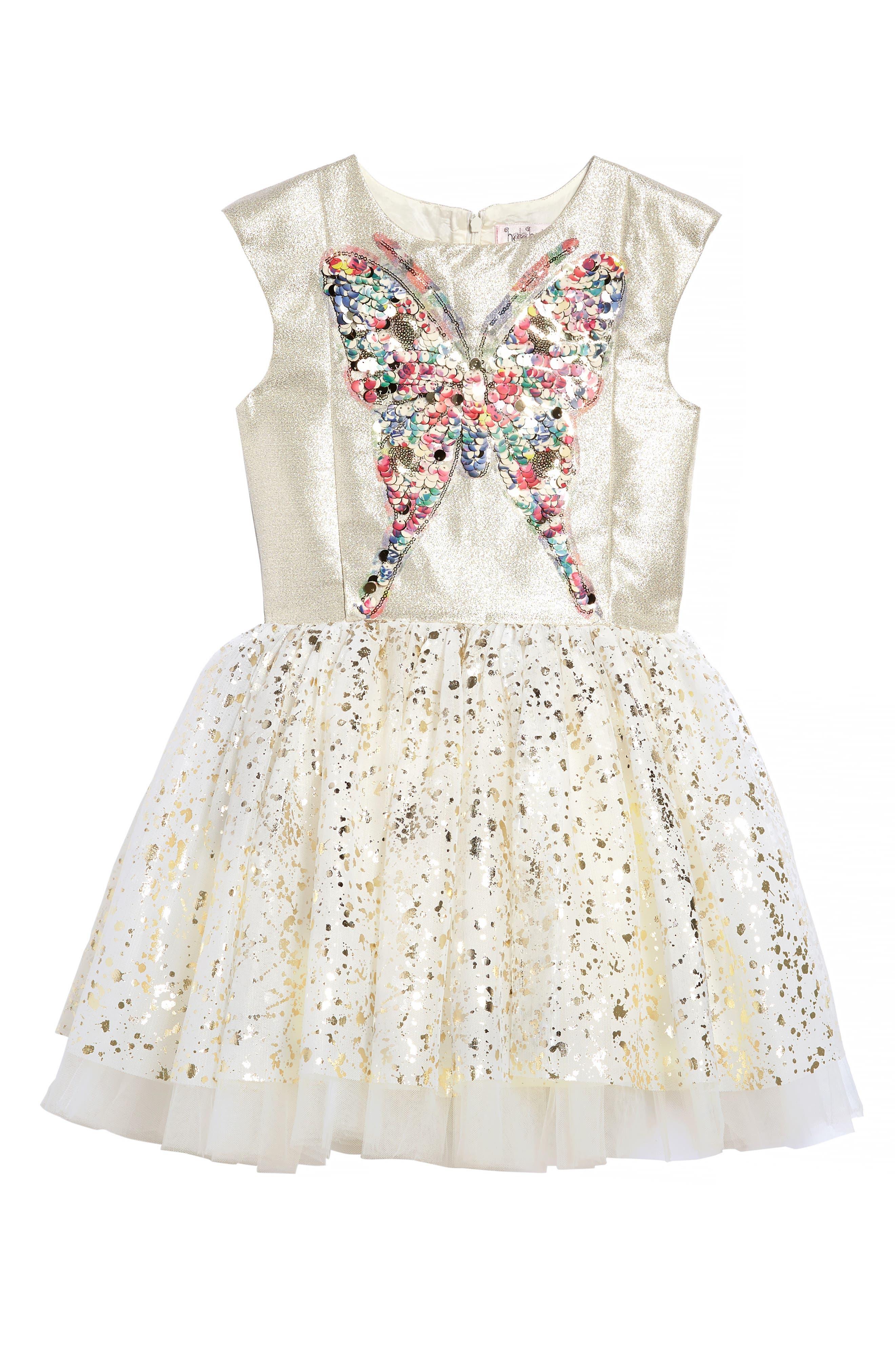 Halabaloo Sequin Butterfly Dress (Toddler Girls, Little Girls & Big Girls)