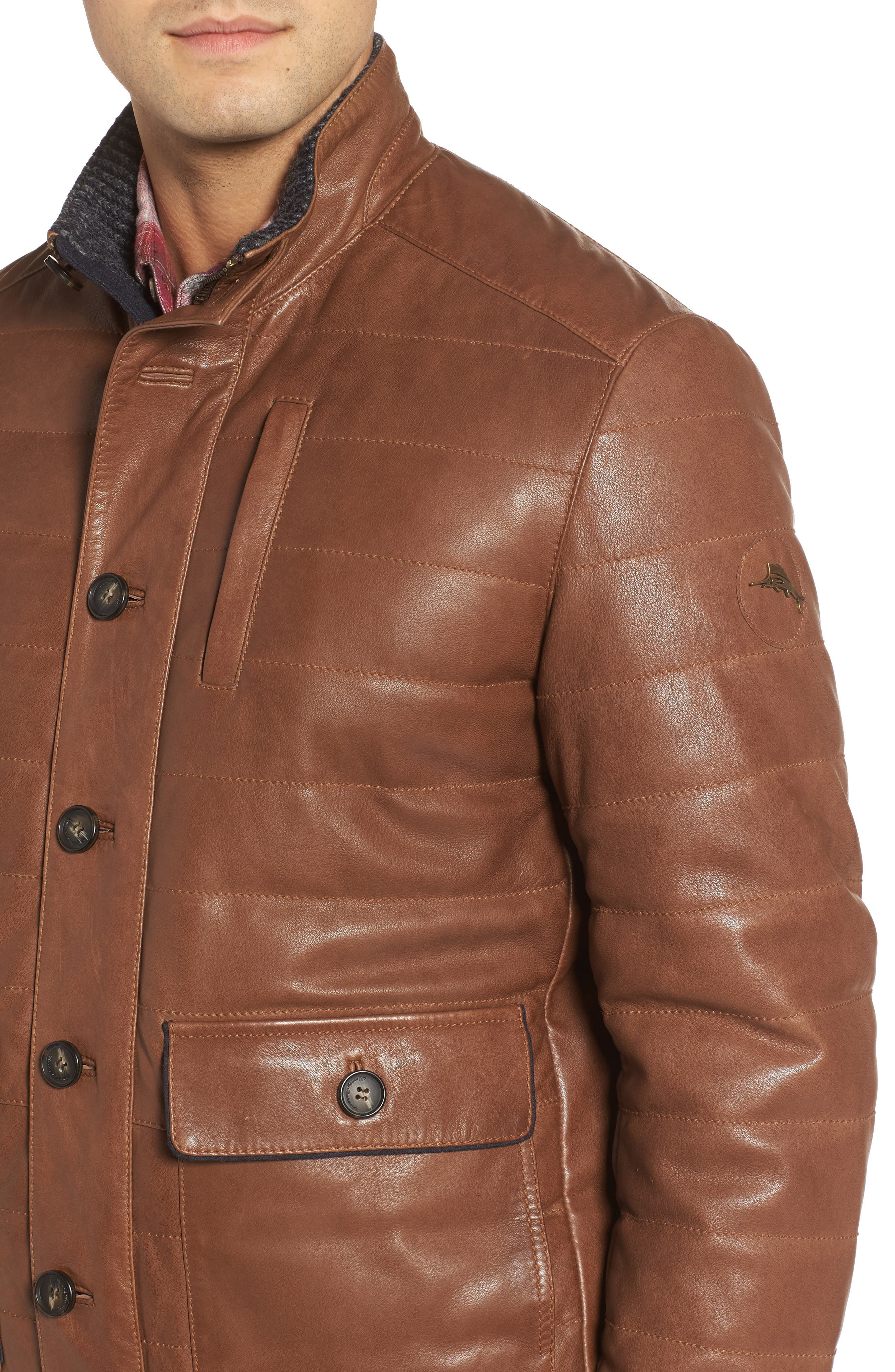 Snowside Leather Bomber Jacket,                             Alternate thumbnail 4, color,                             Brown Enough