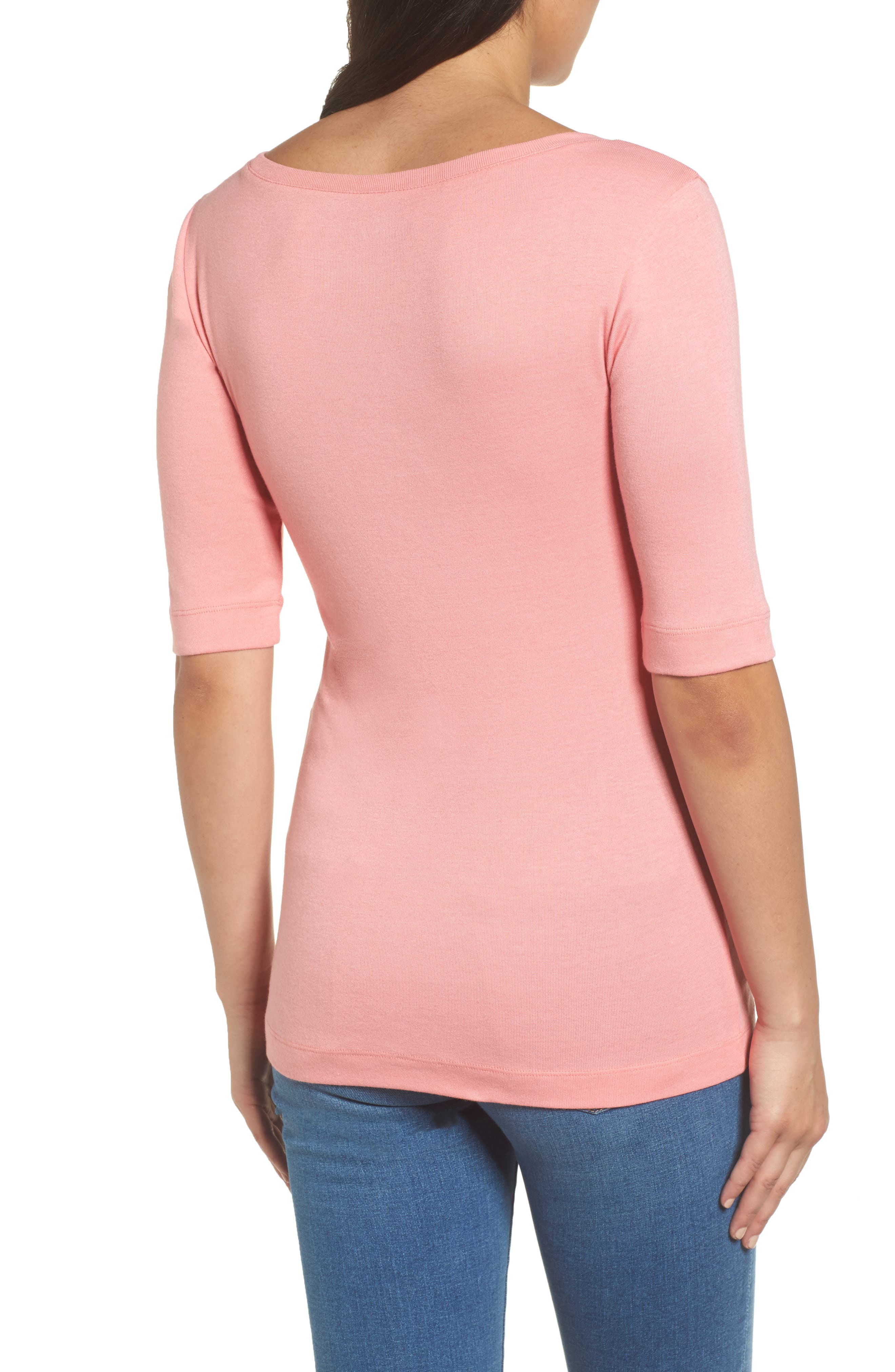 Ballet Neck Cotton & Modal Knit Elbow Sleeve Tee,                             Alternate thumbnail 2, color,                             Pink Berry Ice