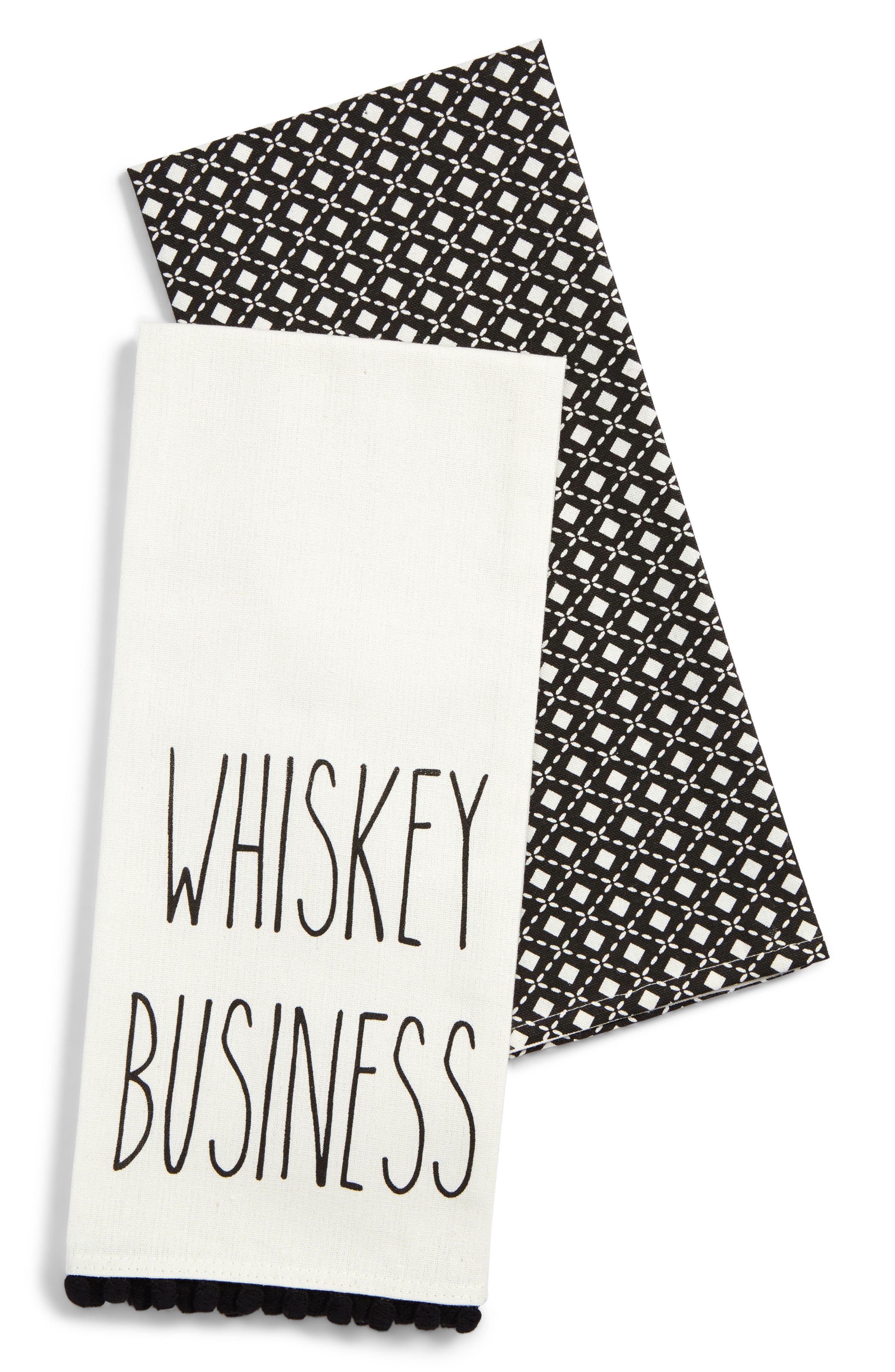 Whiskey Business Set of 2 Dishtowels,                         Main,                         color, Black