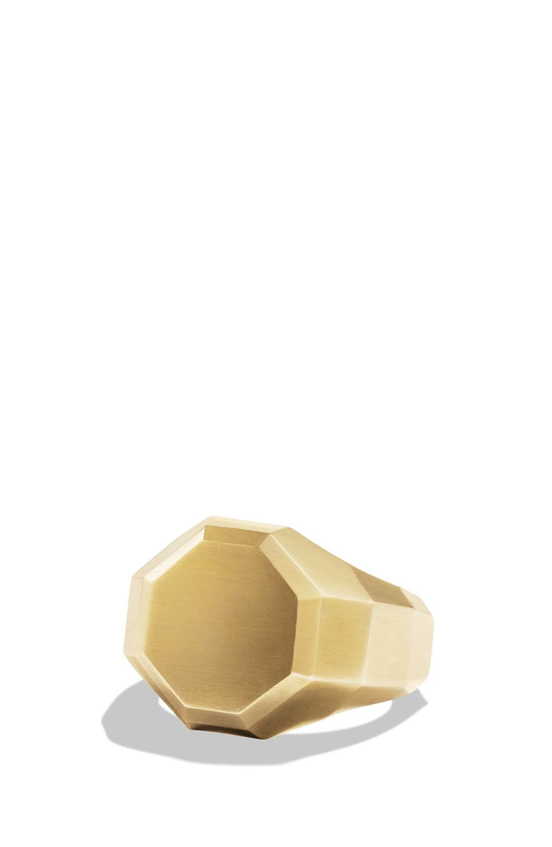 Alternate Image 1 Selected - David Yurman 'Faceted' Signet Ring with 18k Gold