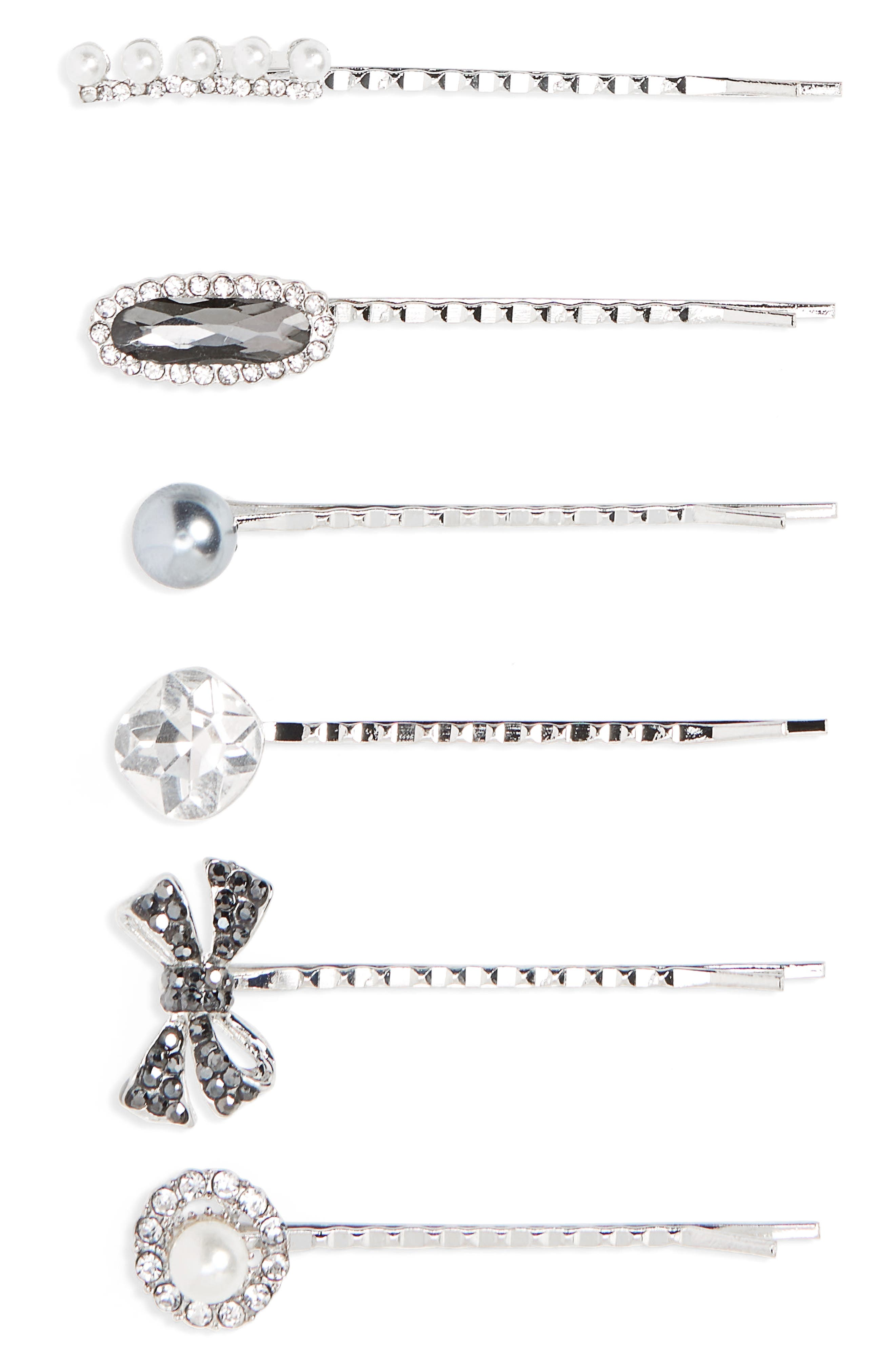6-Pack Imitation Pearl & Crystal Bobby Pins,                             Main thumbnail 1, color,                             Silver Multi