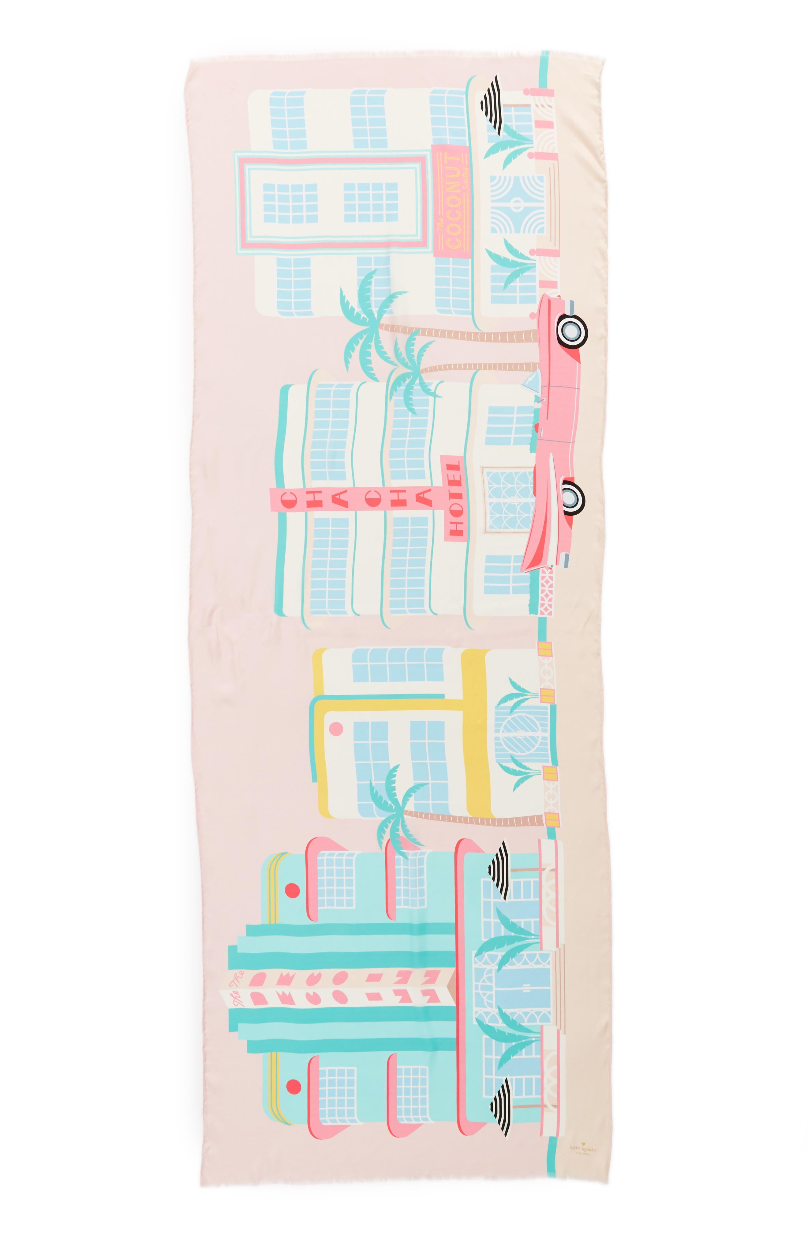 deco hotel oblong silk scarf,                             Alternate thumbnail 2, color,                             Valentine Pink