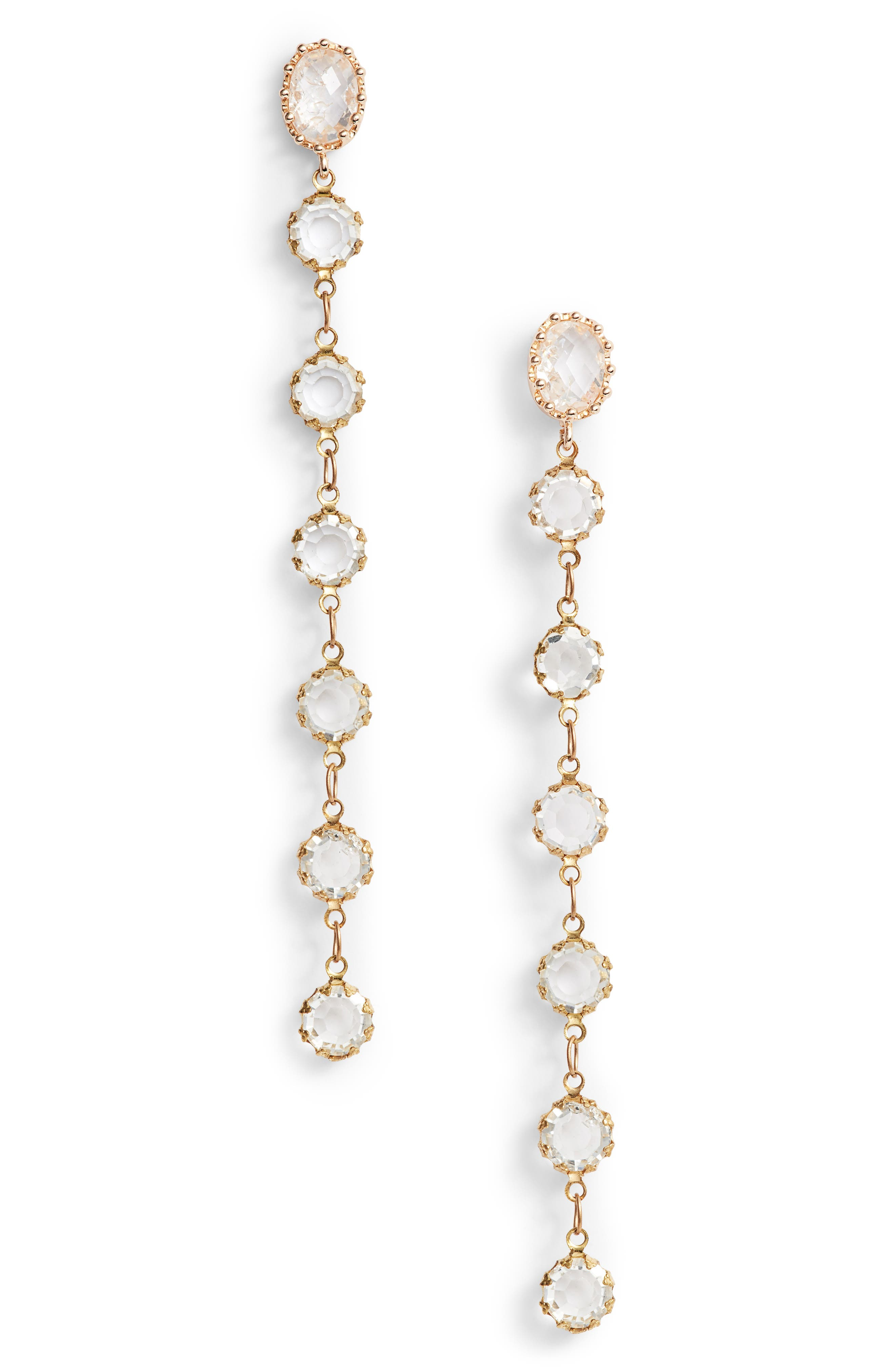 Linear Drop Earrings,                             Main thumbnail 1, color,                             Gold/ Clear