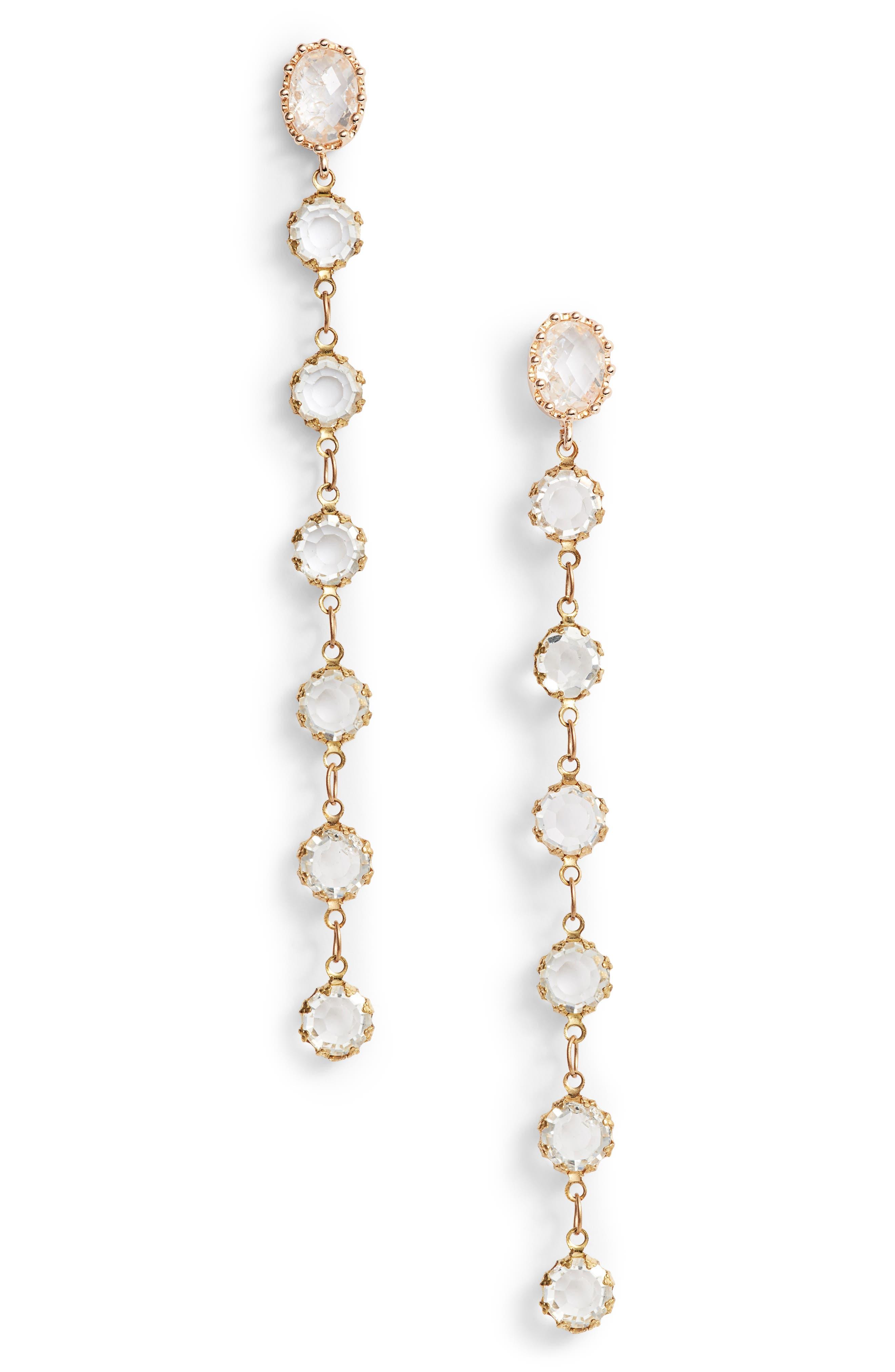Linear Drop Earrings,                         Main,                         color, Gold/ Clear