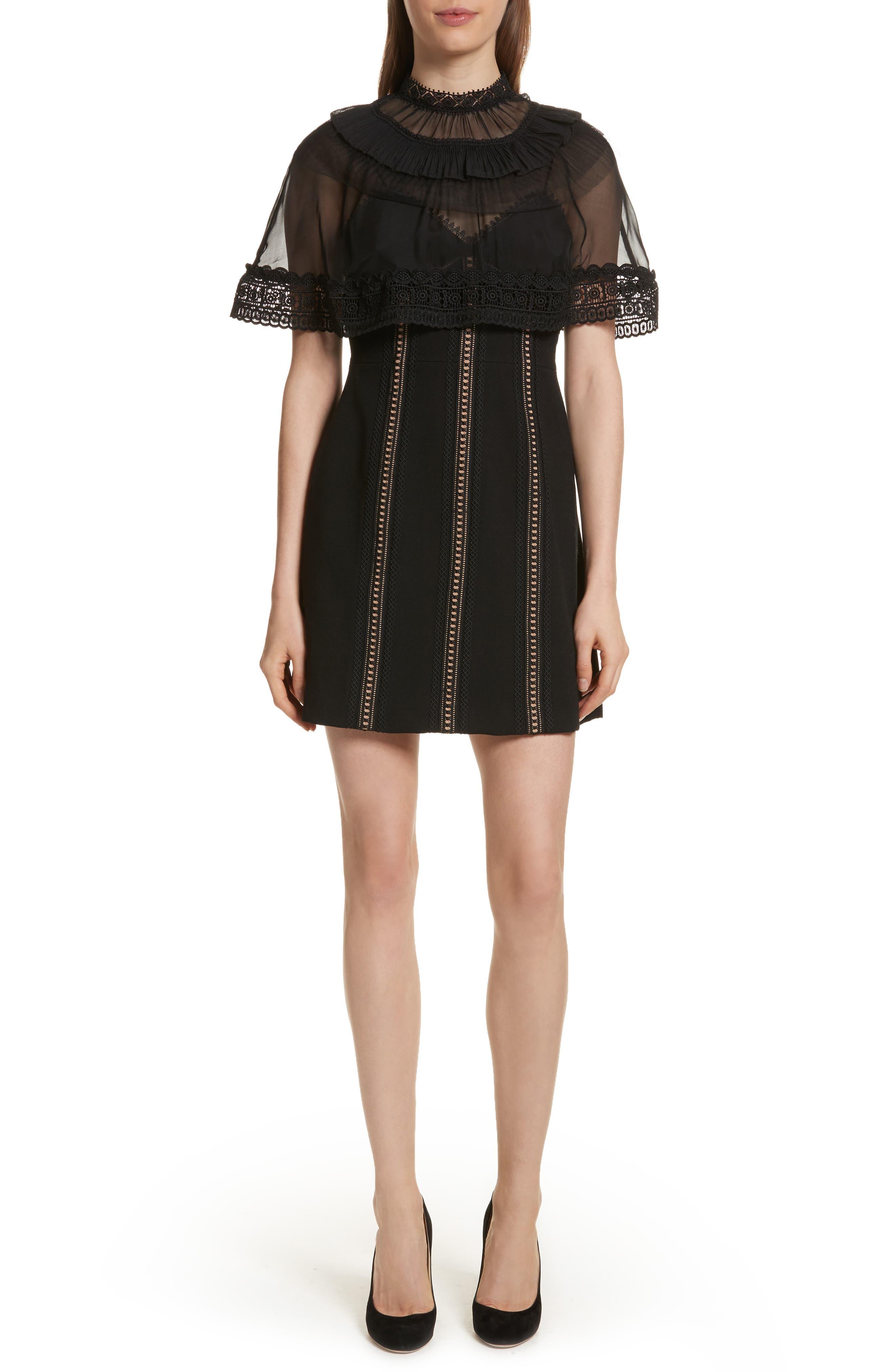 Trimmed Overlay Minidress,                             Main thumbnail 1, color,                             Black