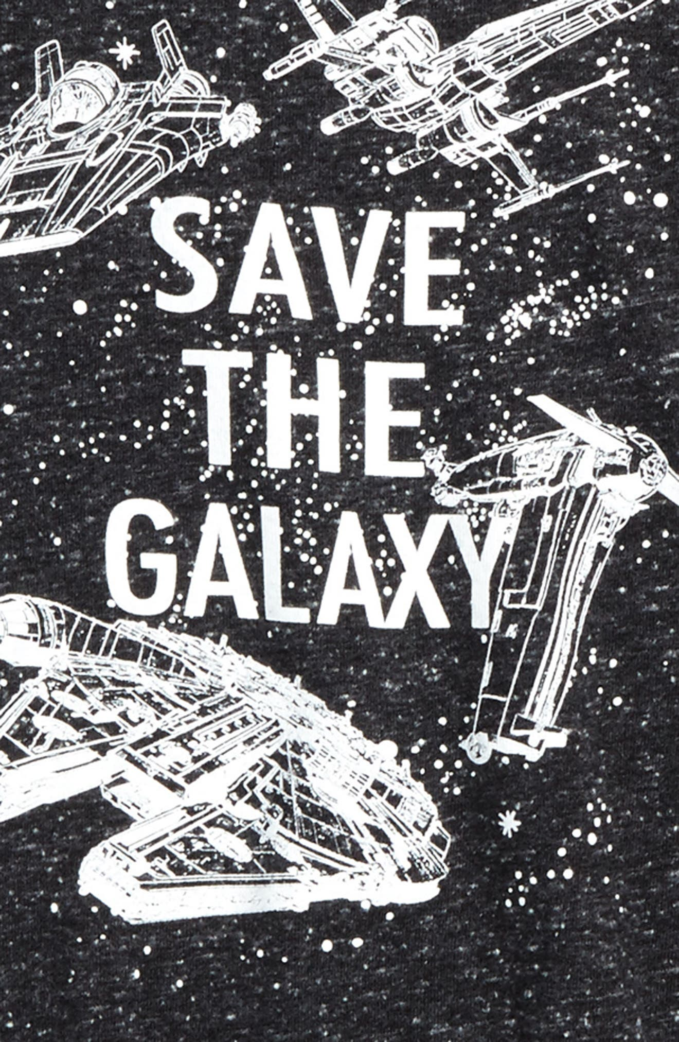 Star Wars - Save the Galaxy Glow in the Dark T-Shirt,                             Alternate thumbnail 2, color,                             Black