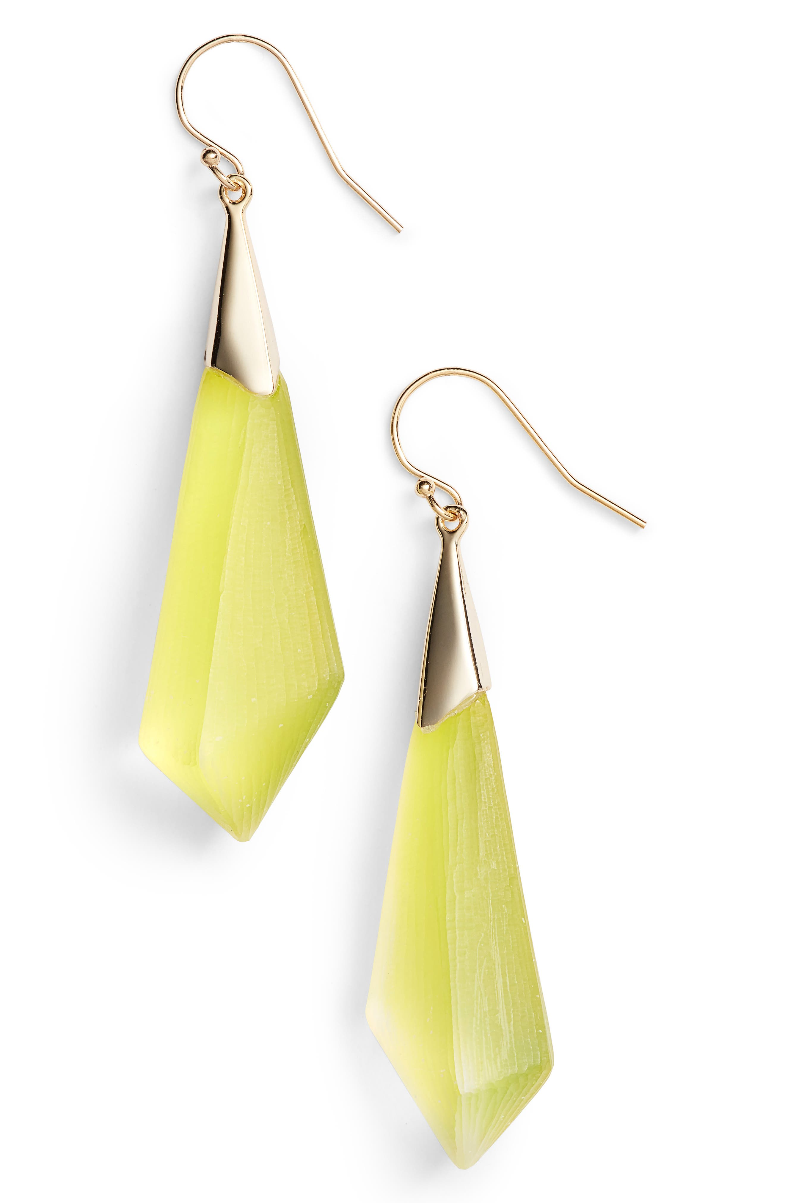 Lucite<sup>®</sup> Drop Earrings,                         Main,                         color, Titanium Yellow