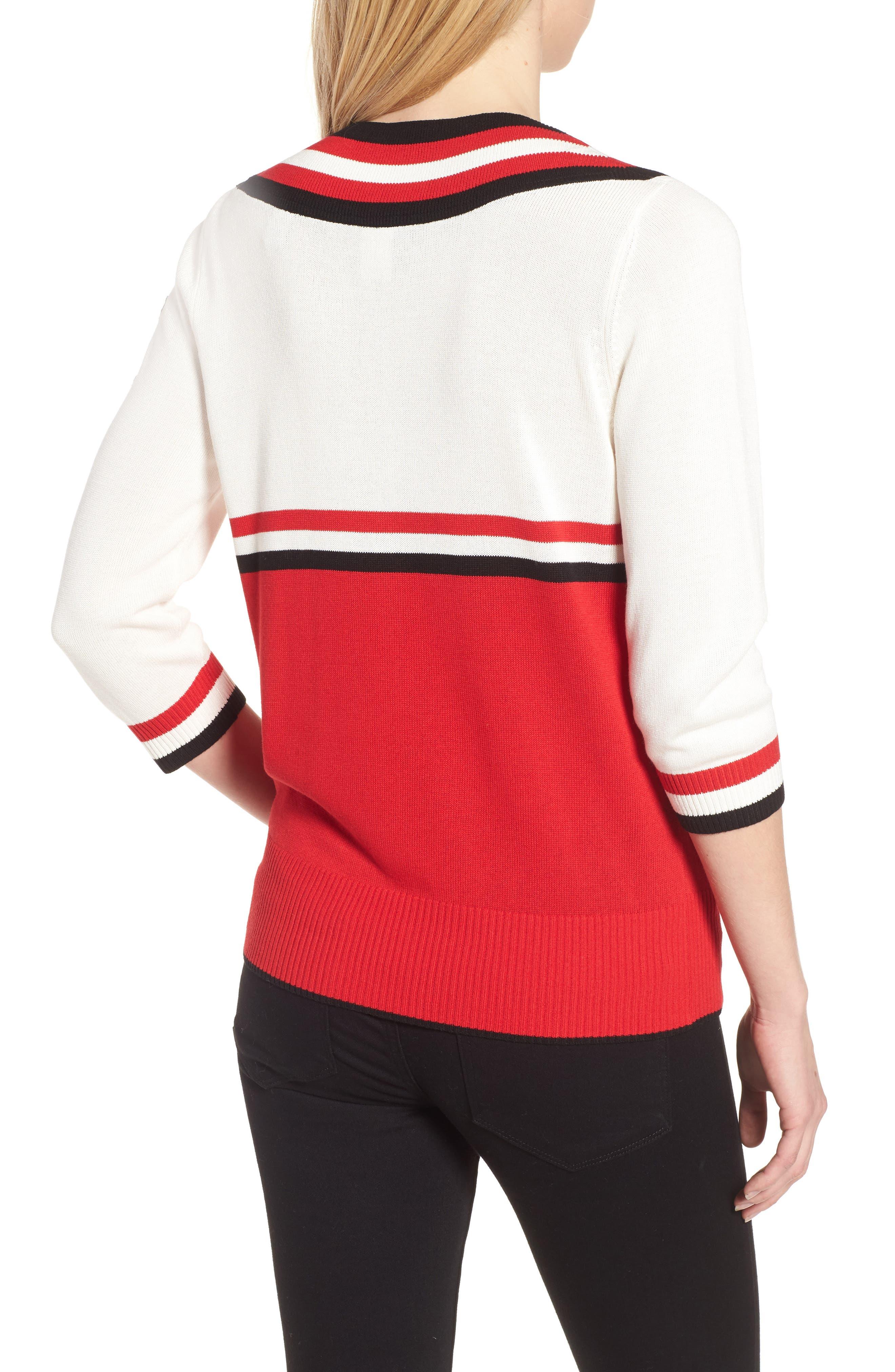 Stripe Sweater,                             Alternate thumbnail 2, color,                             Red/ Black/ White