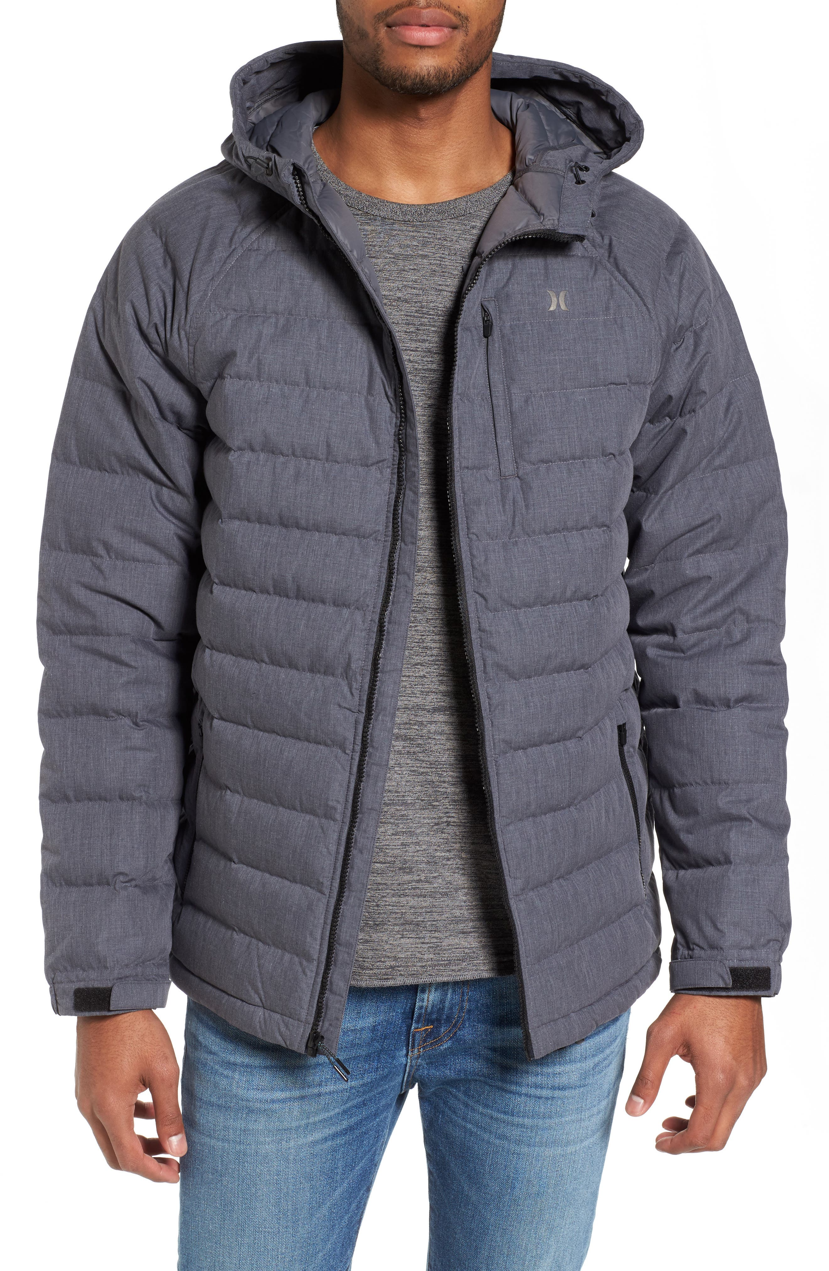 Protect Quilted Down Jacket,                         Main,                         color, Heather Black
