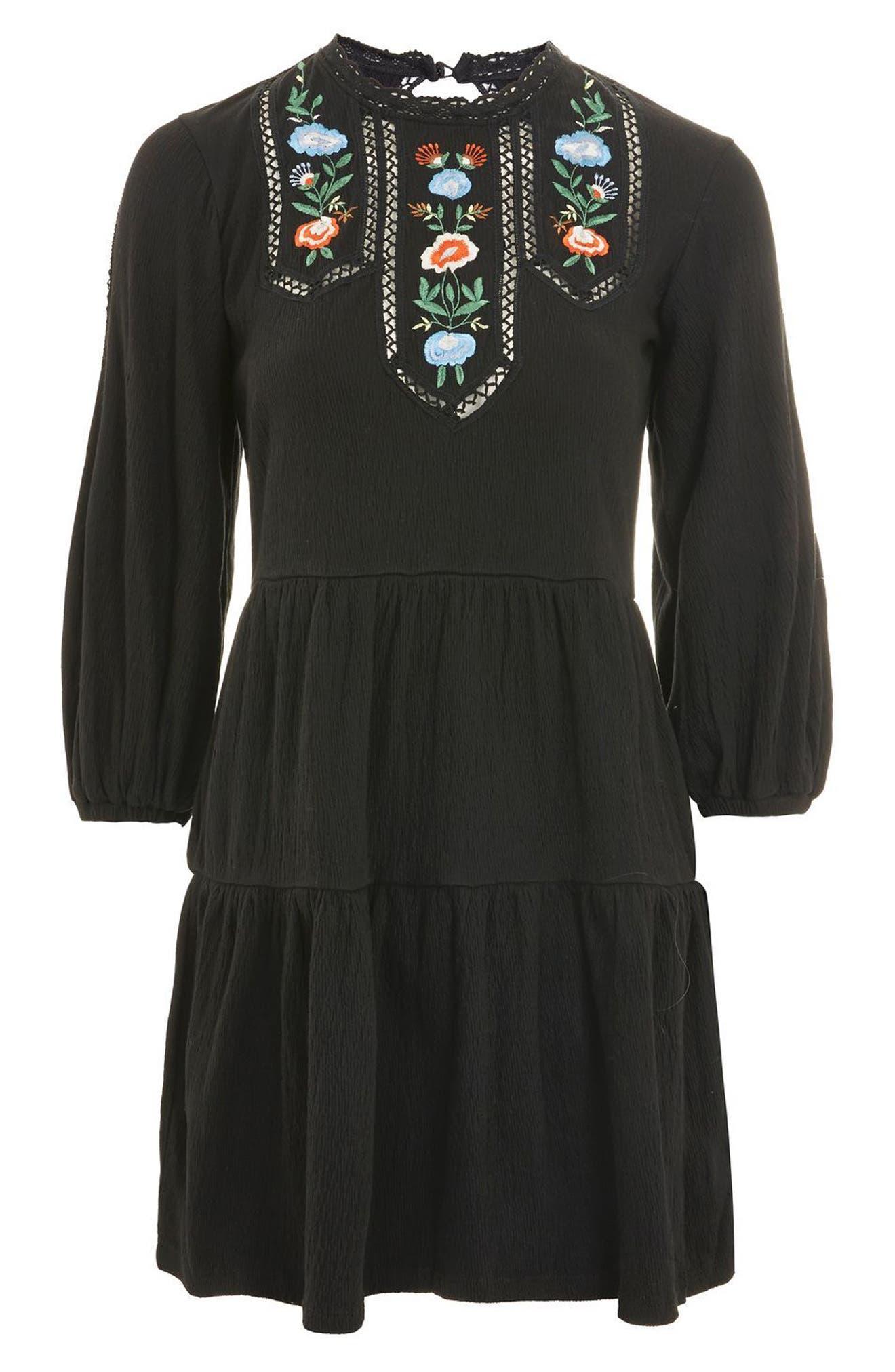 Embroidered Smock Dress,                             Alternate thumbnail 4, color,                             Black Multi